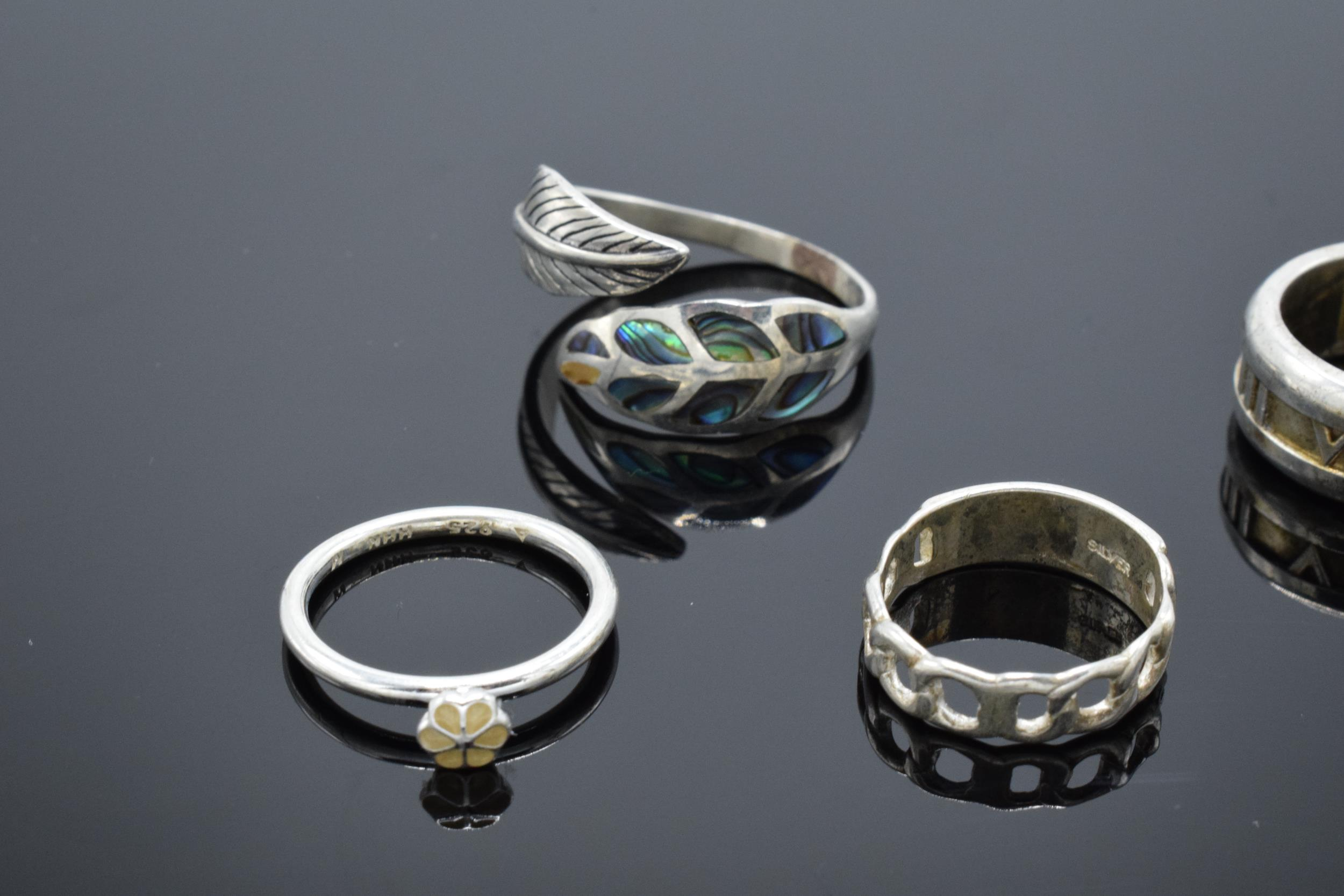A collection of silver 925 rings to consist of various sizes and designs, some are set with semi- - Image 3 of 3