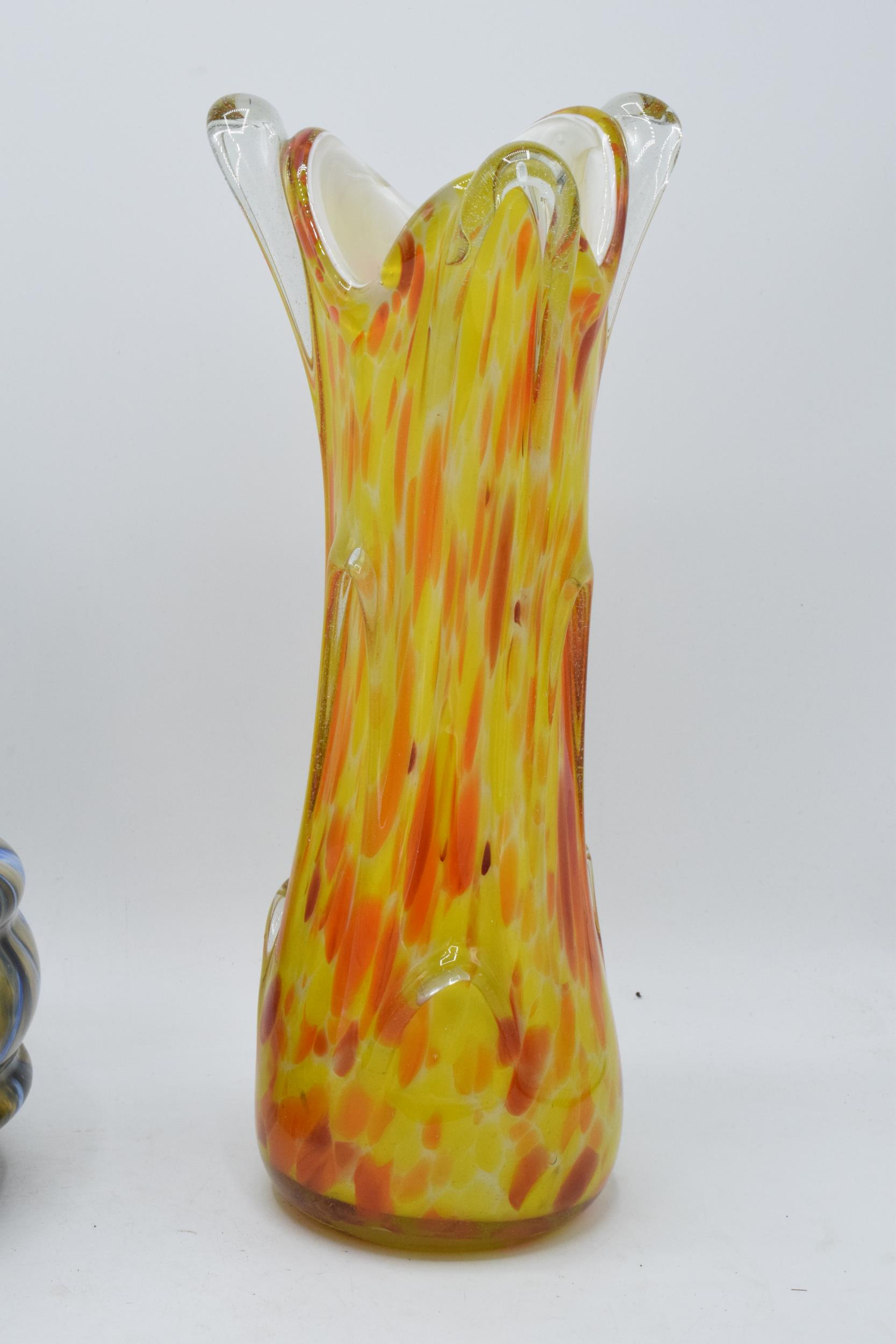 A collection of assorted art / studio glass in the form of jugs, vases, a dish etc. Condition is - Image 2 of 8