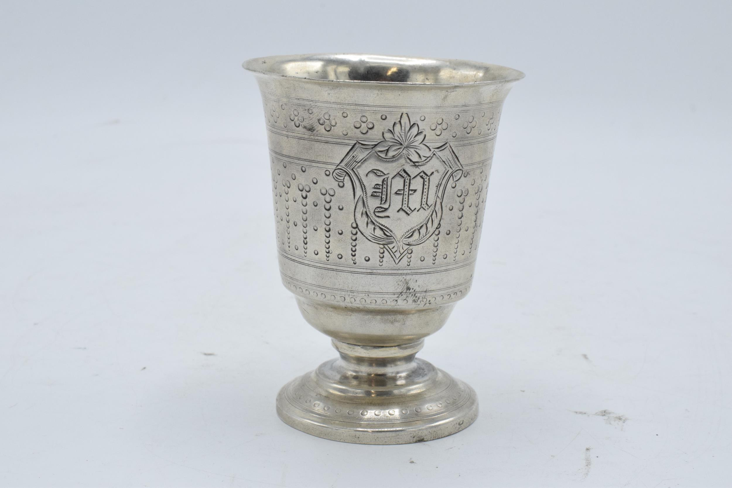 Continental silver footed beaker with engraved decoration. 9cm tall. 63.3 grams. - Image 2 of 5