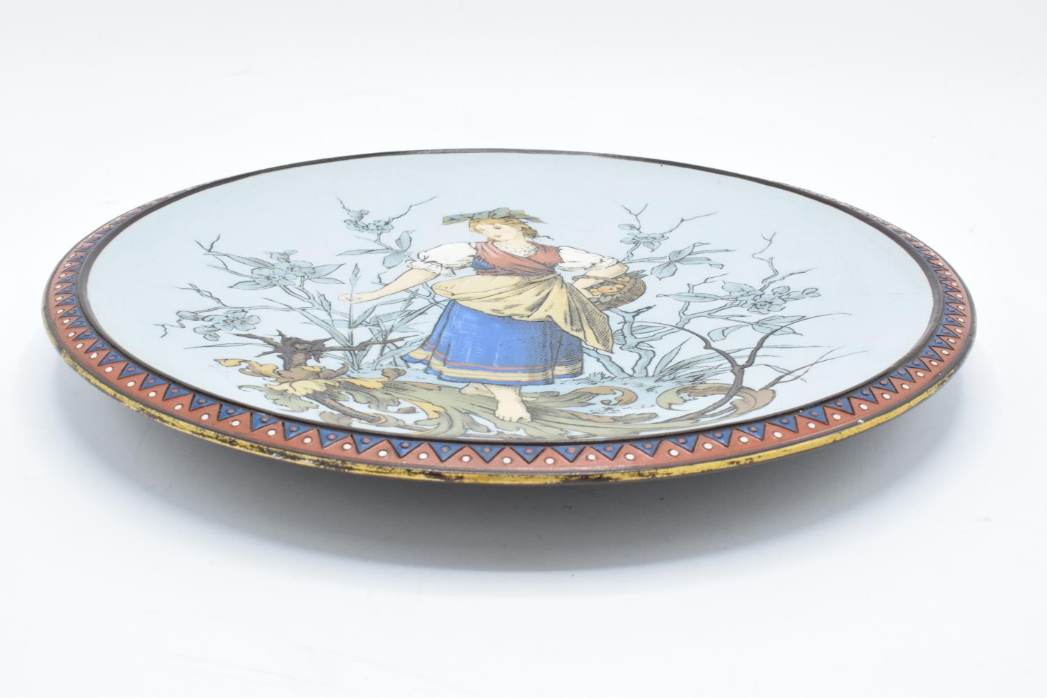 Late 19th century Mettlach (Villeroy and Boch) wall charger after C. Warth decorated with a lady - Image 2 of 4