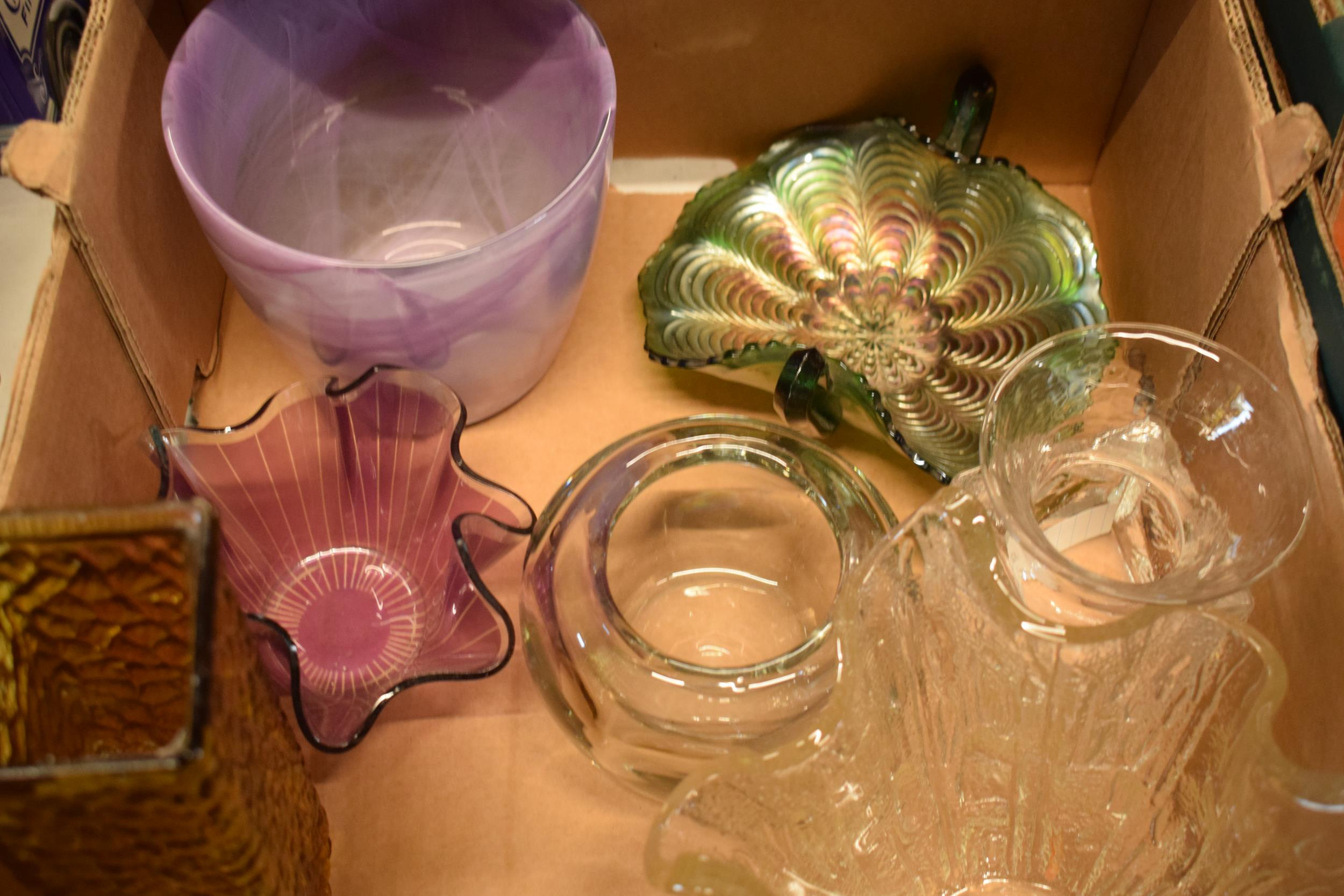 A collection of assorted art / studio glass in the form of a Dartington Crystal SWEB tankard, bowls, - Image 2 of 4