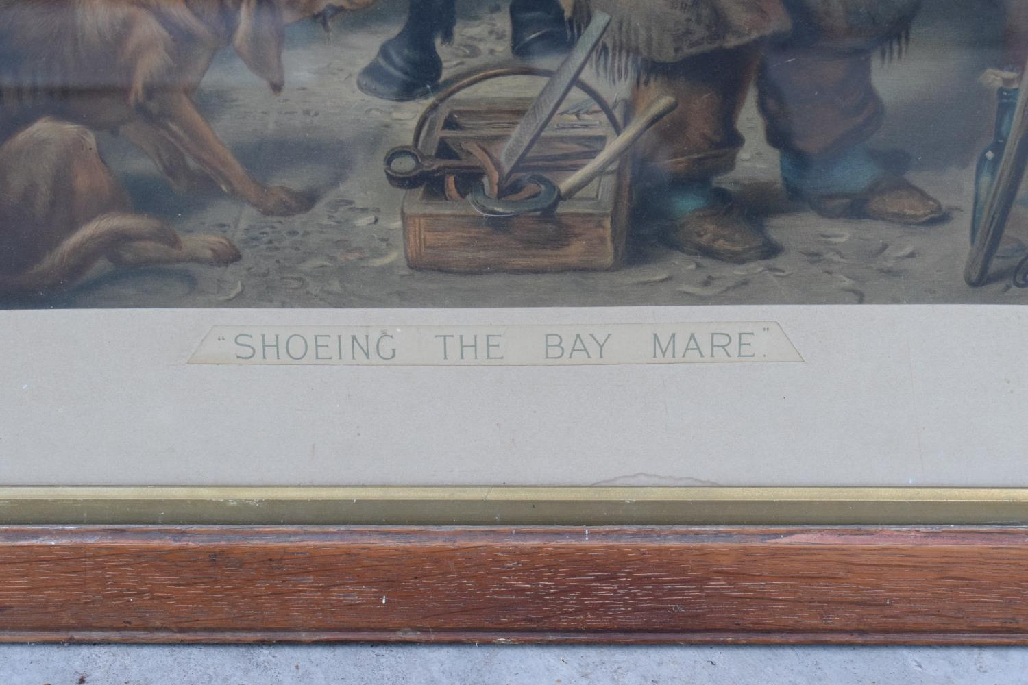A framed Pears print 'Shoeing the Bay Mare'. 83 x 62cm inc frame. - Image 2 of 5