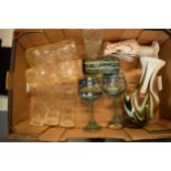 A collection of assorted art / studio glass in the form of vases with bark effect design, glasses