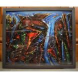 David Wilde (1913-1974) abstract acrylic painting 'Anglesey Copper Mine' with signature bottom