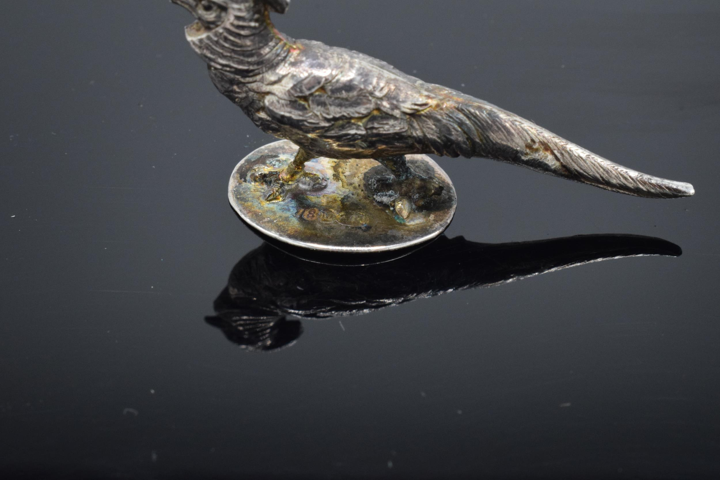Sampson Mordan & Co Edwardian silver miniature pheasant, hallmarked Chester 1909. Approx 42mm in - Image 4 of 5