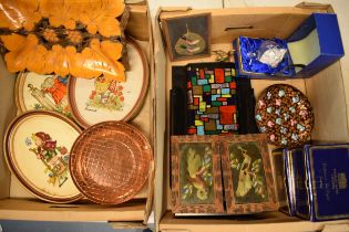 A mixed collection of items to include Hummel tapestries, Thomas Webb Crystal, a copper flower