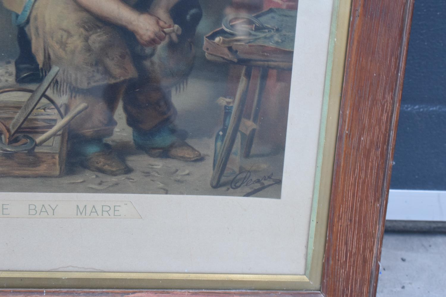 A framed Pears print 'Shoeing the Bay Mare'. 83 x 62cm inc frame. - Image 3 of 5