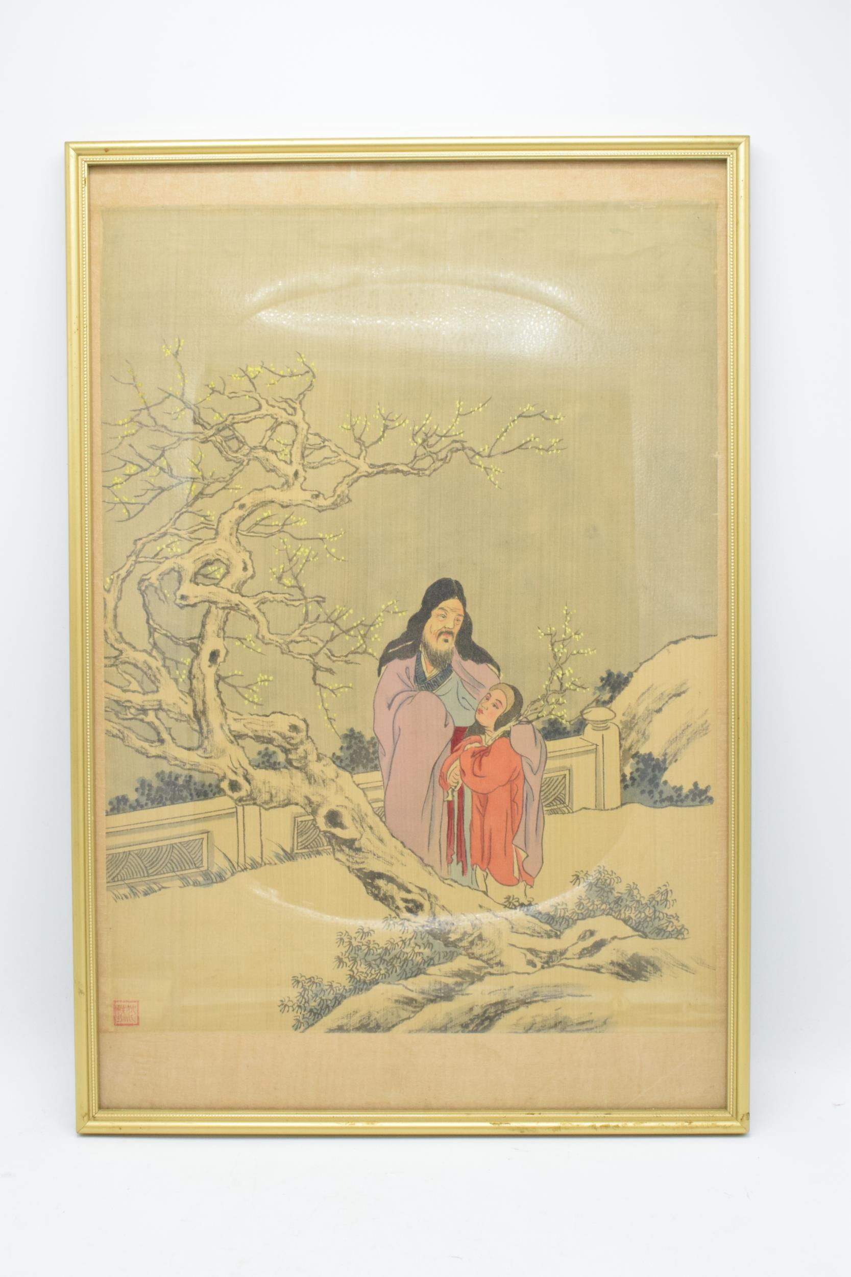 Meiji Japanese woodblock print depicting snowy mountain scene with man and young girl in front of