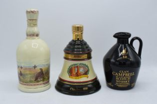 A collection of whisky in decanters to include Bells Old Scotch Whisky Christmas 1991 70l 40% (