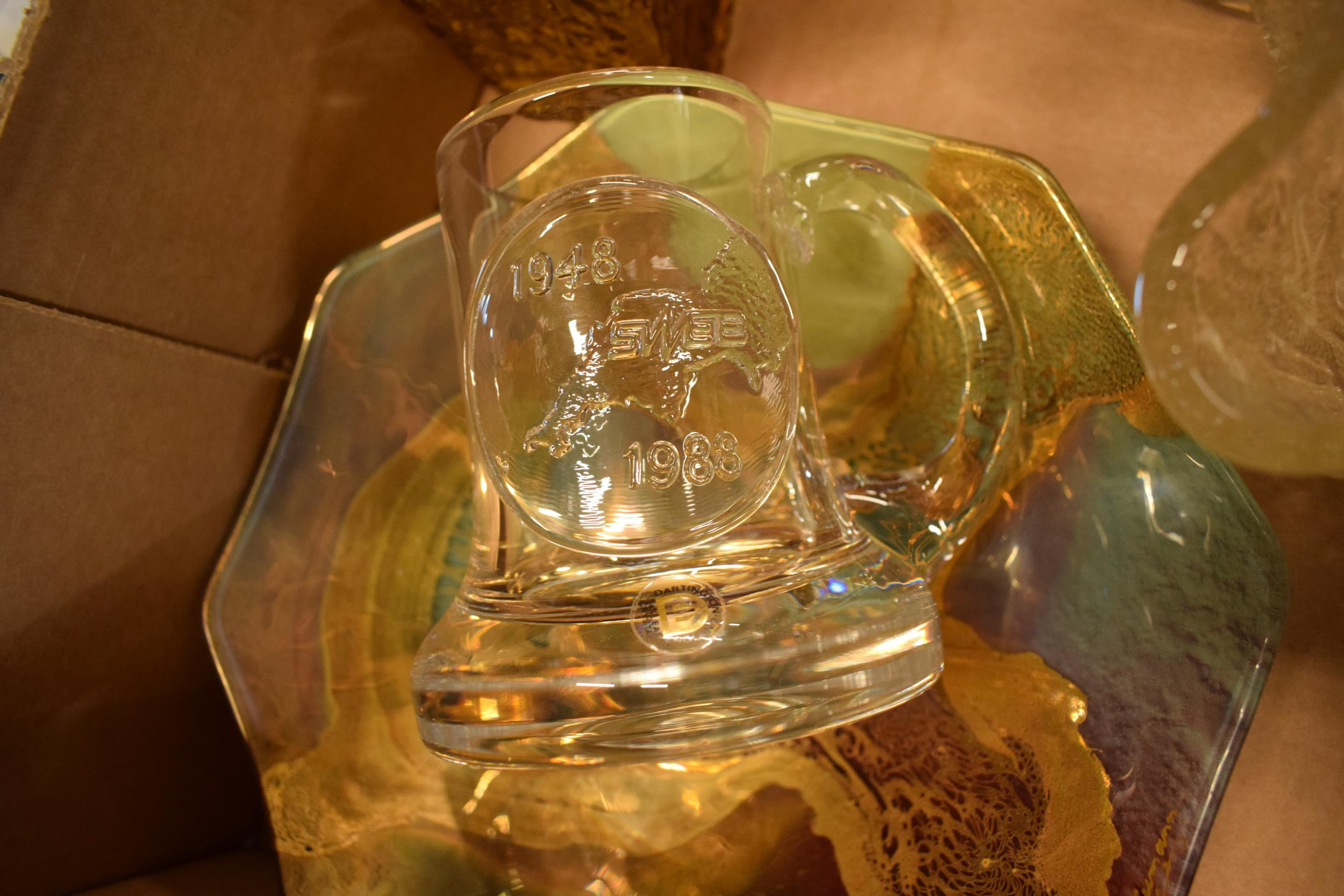A collection of assorted art / studio glass in the form of a Dartington Crystal SWEB tankard, bowls, - Image 4 of 4