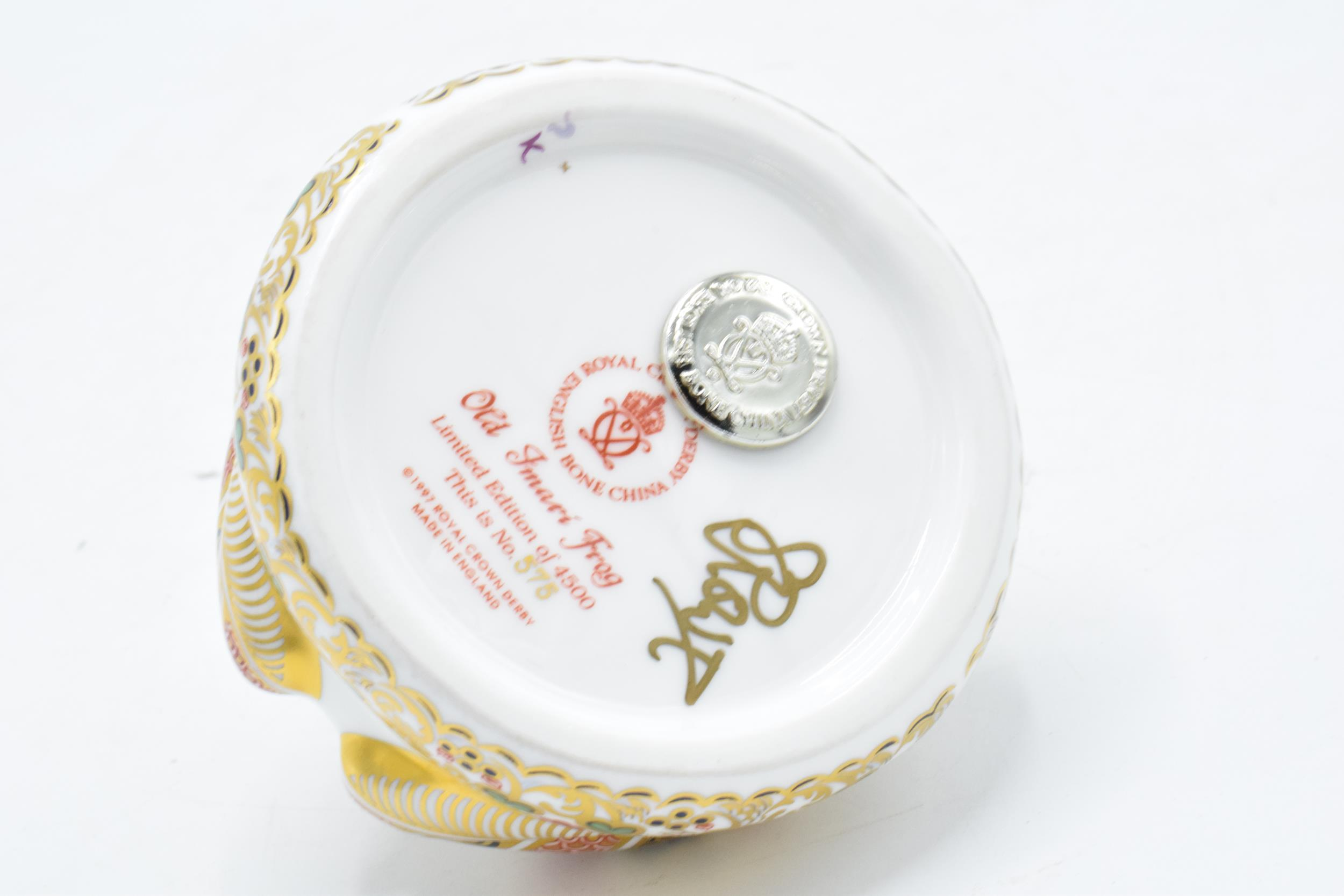 Boxed Royal Crown Derby paperweight in the form of an Old Imari Frog. First quality with stopper and - Image 4 of 4