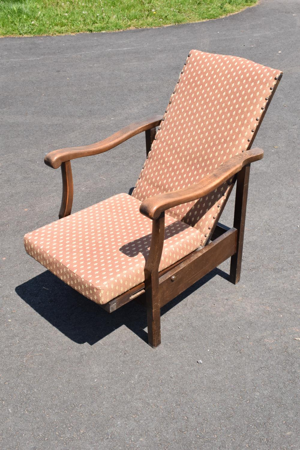An early to mid 20th century adjustable/ sliding chair. 99cm tall. - Image 2 of 5