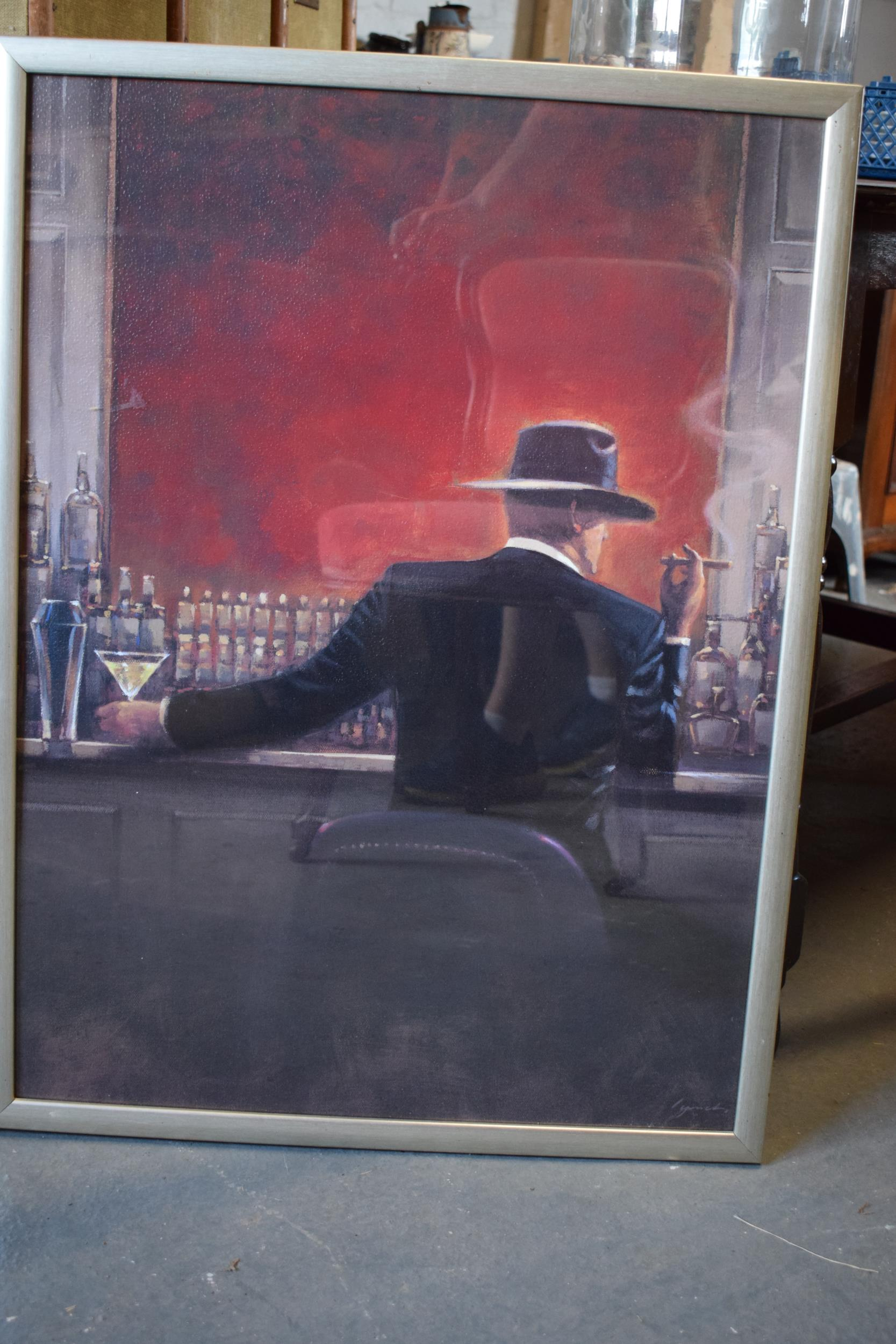 A pair of large contemporary prints 'Evening Lounge' and 'Cigar Bar' by Brent Lynch in wooden - Image 2 of 5