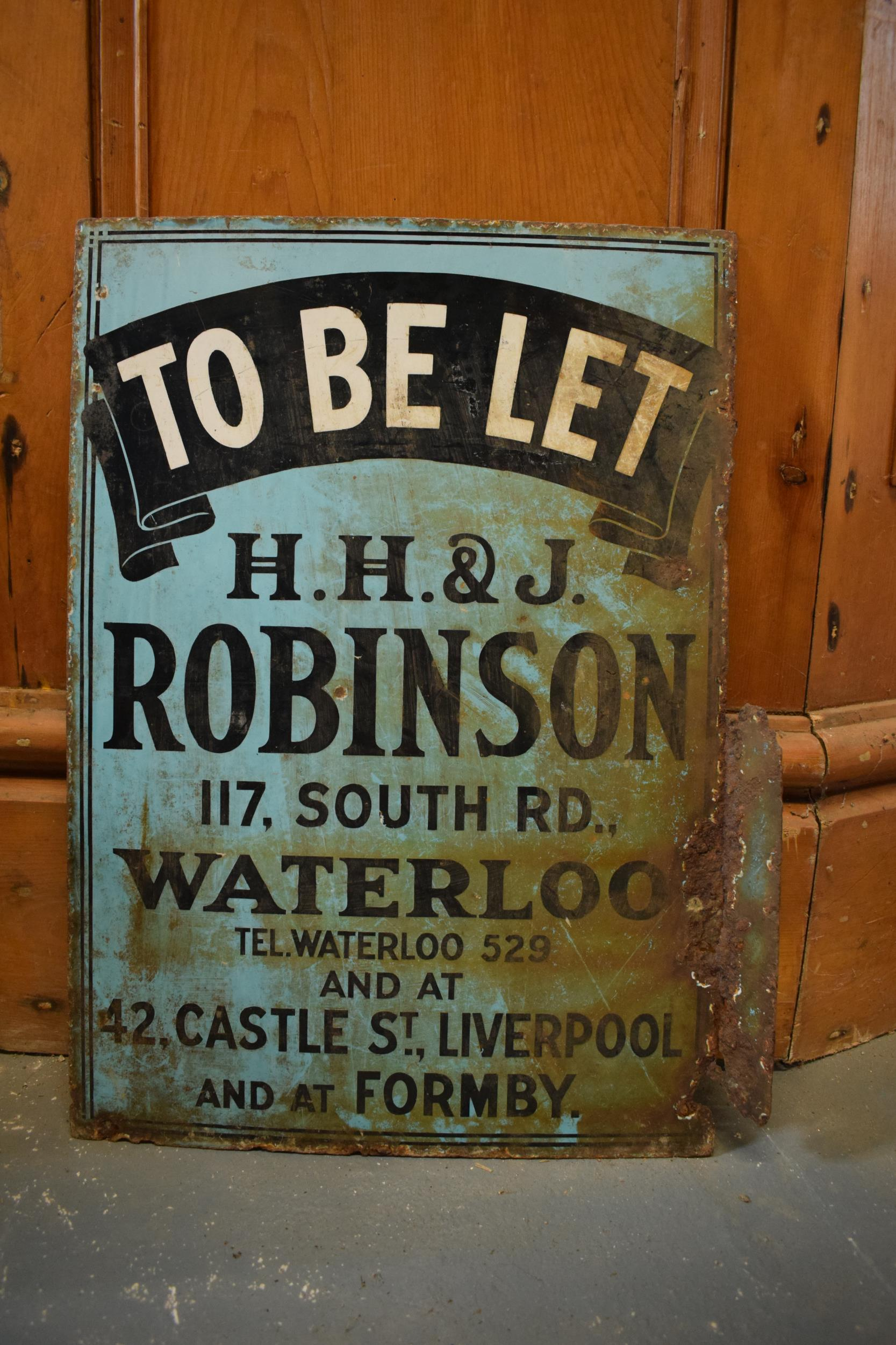 An original vintage double-sided enamel advertising sign for an H H and J Robinson estate agents. '