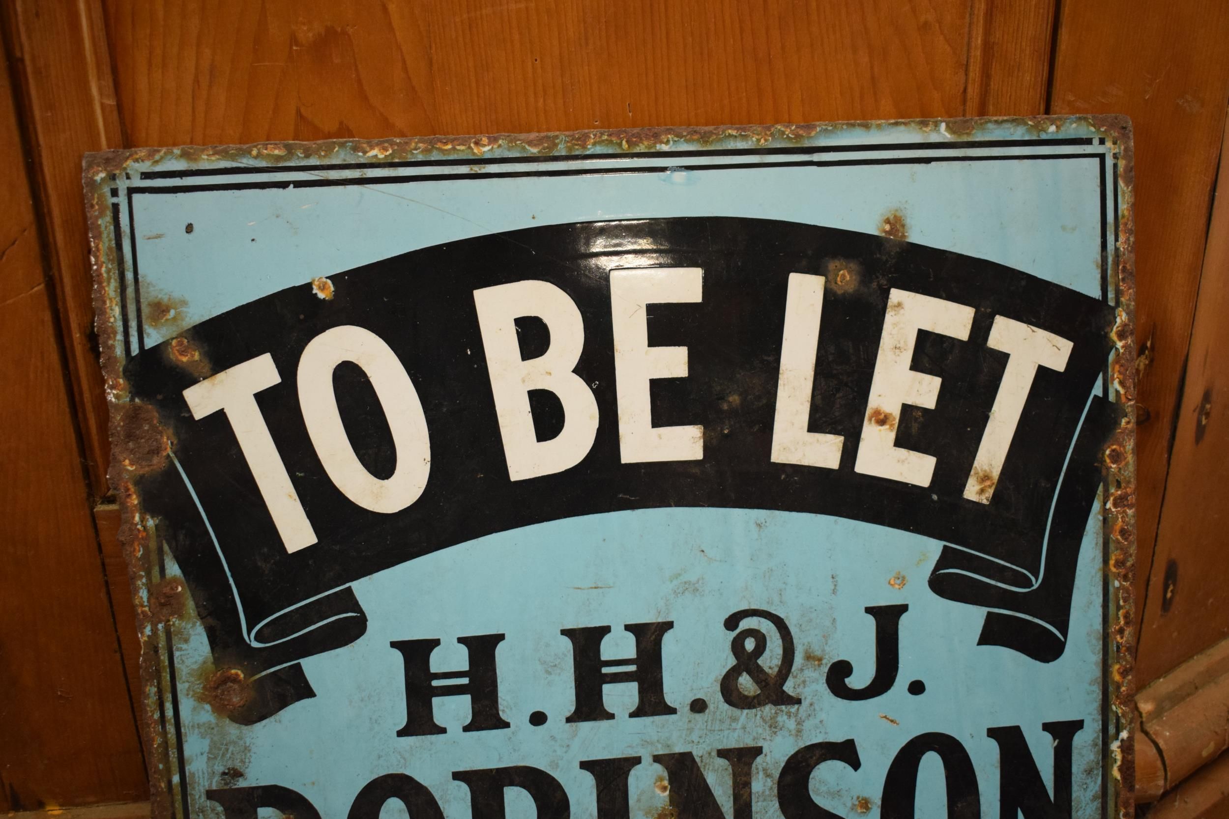 An original vintage double-sided enamel advertising sign for an H H and J Robinson estate agents. ' - Image 7 of 9