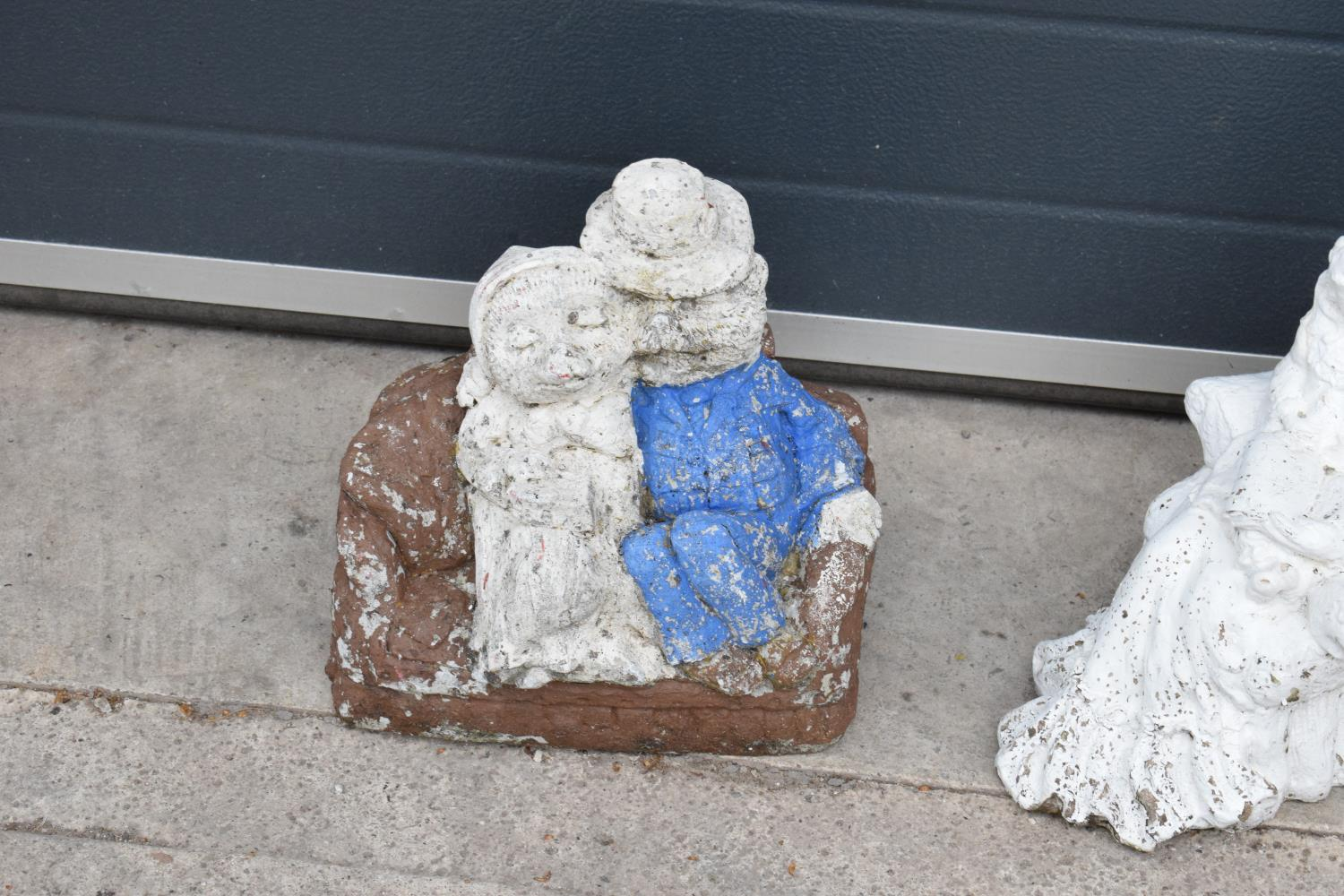 A collection of vintage garden ornaments to include a garden gnome, a figure of a couple and one - Image 2 of 3