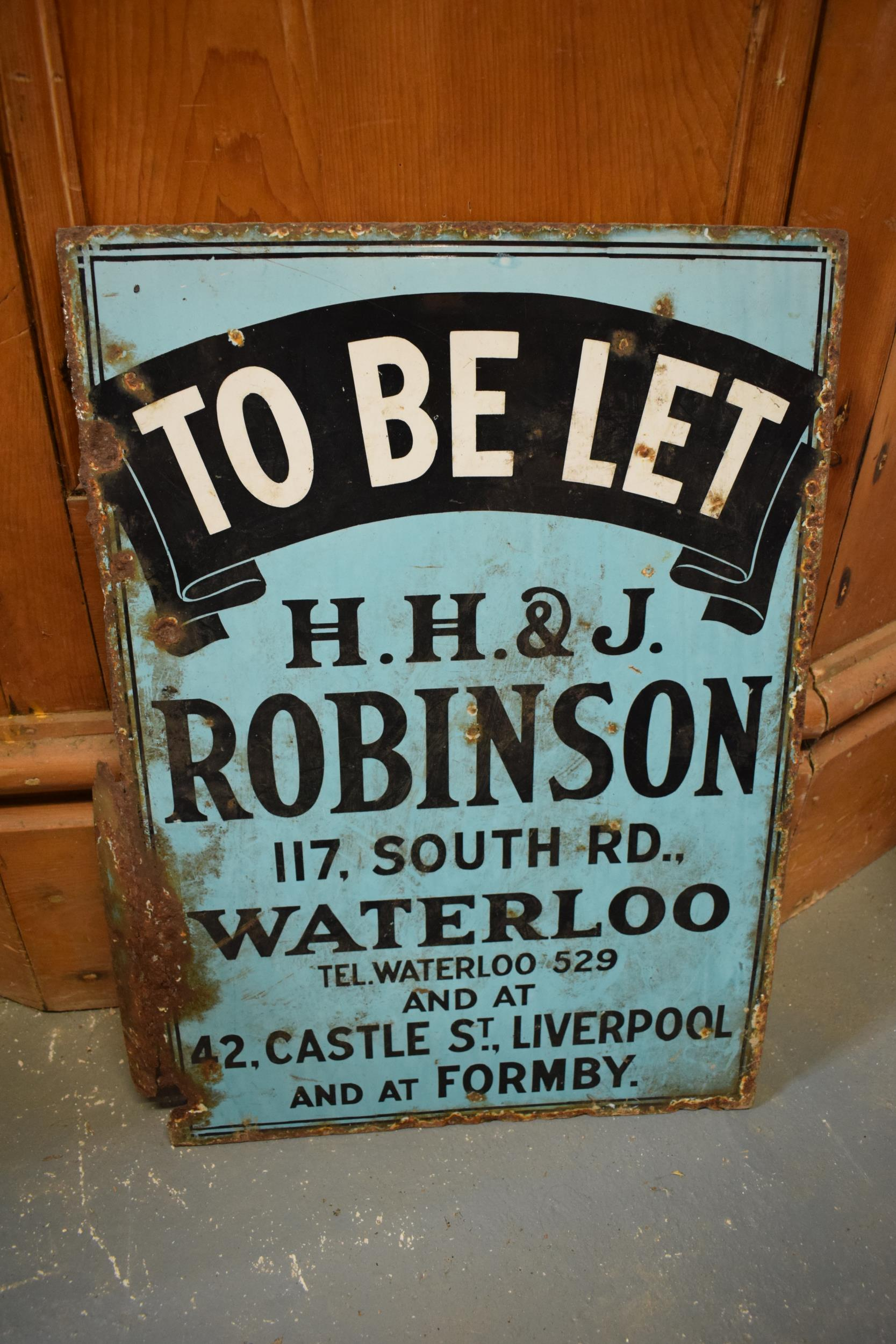 An original vintage double-sided enamel advertising sign for an H H and J Robinson estate agents. ' - Image 6 of 9