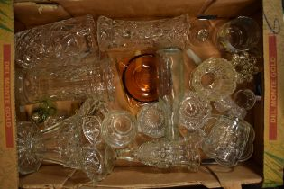 A collection of 20th century glass ware to include cut glass, pressed examples such as vases,