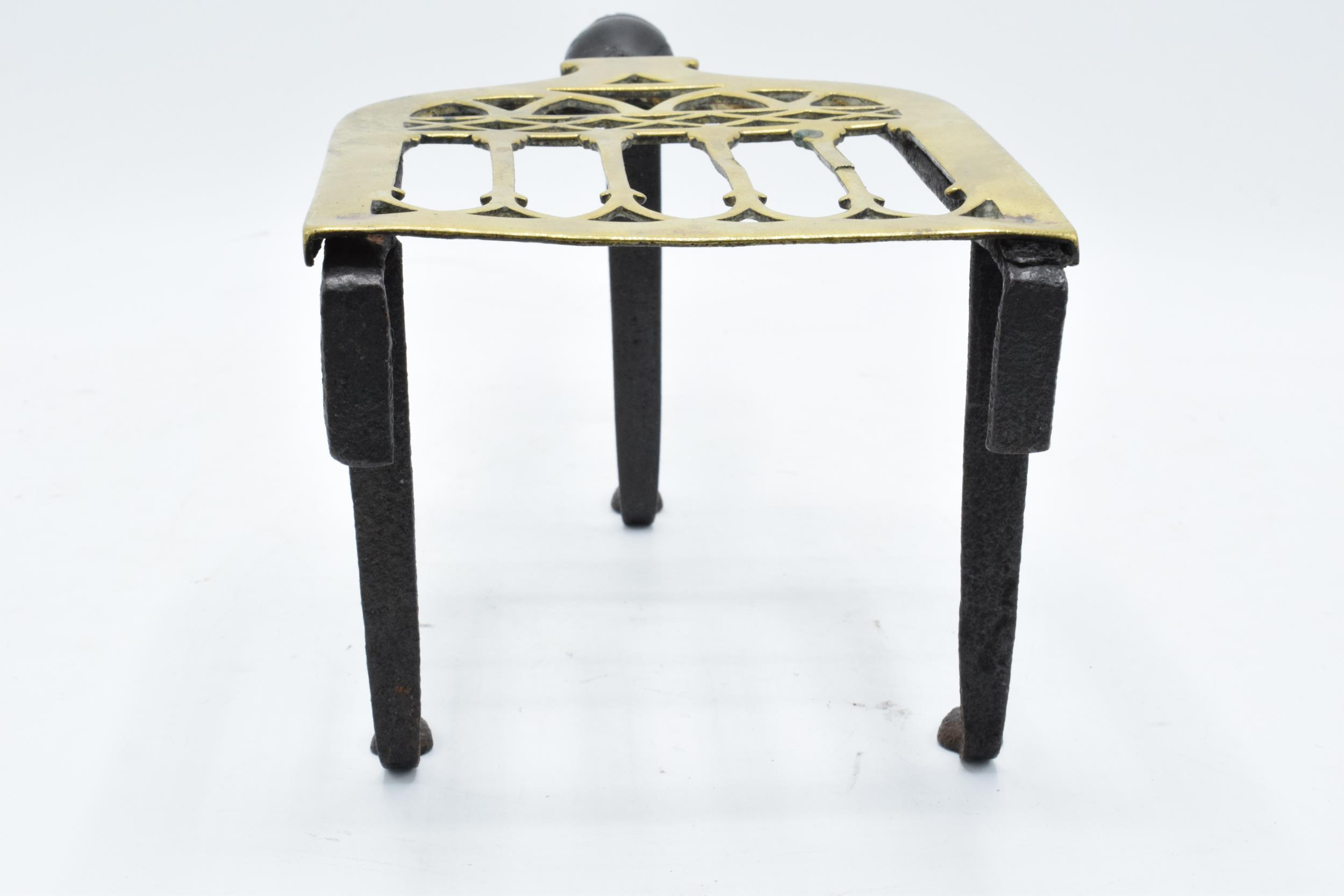 Victorian brass and iron trivet with wooden handle (some chipping to wood). - Image 4 of 6