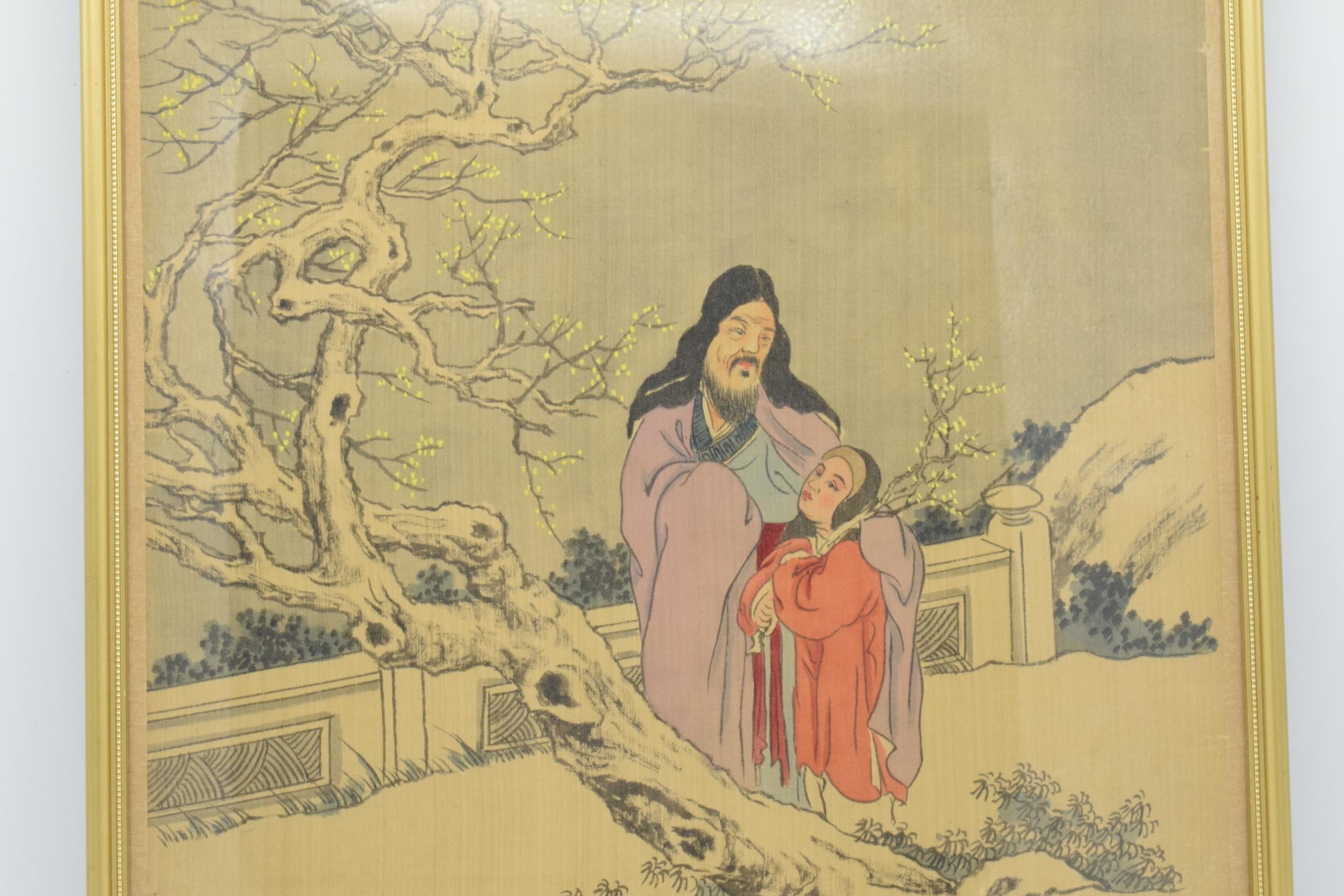 Meiji Japanese woodblock print depicting snowy mountain scene with man and young girl in front of - Image 3 of 6