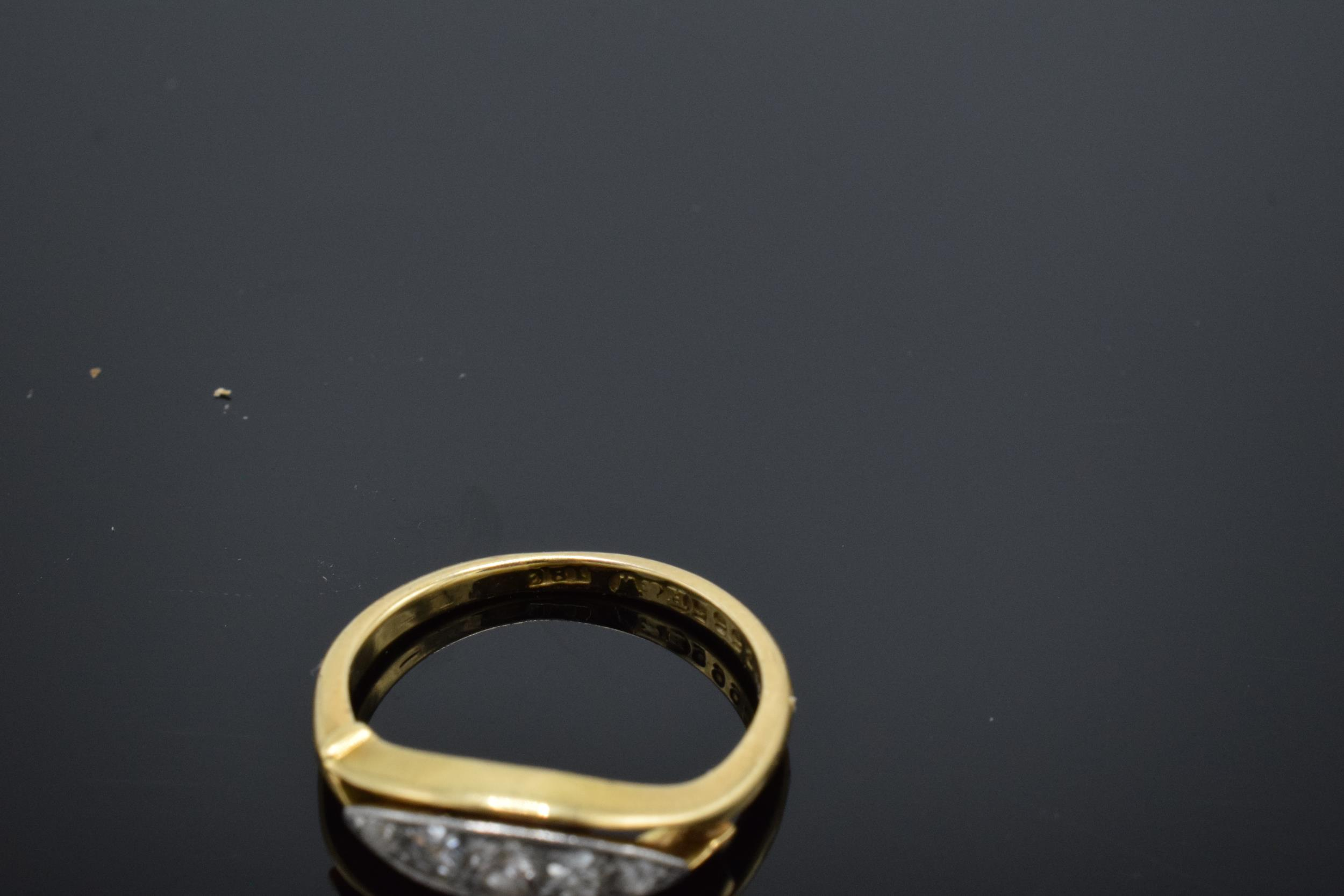 18ct gold ring set with 5 diamonds. UK size K/L. 2.7 grams. In good condition. - Image 3 of 3