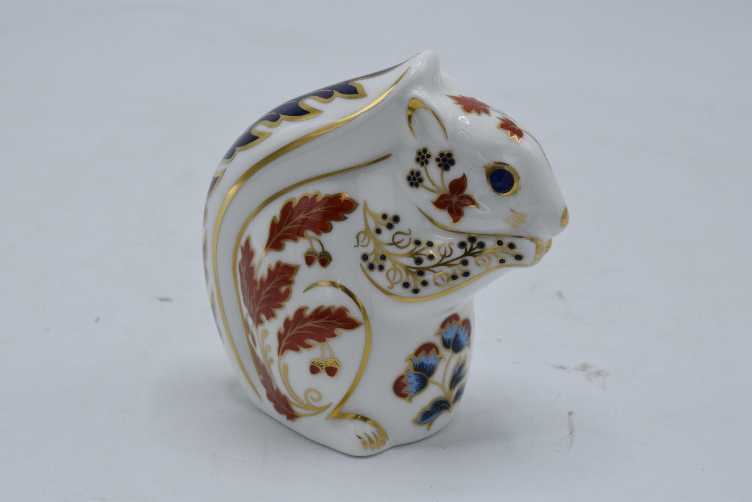 Boxed Royal Crown Derby paperweight in the form of a Squirrel. First quality with stopper. In good