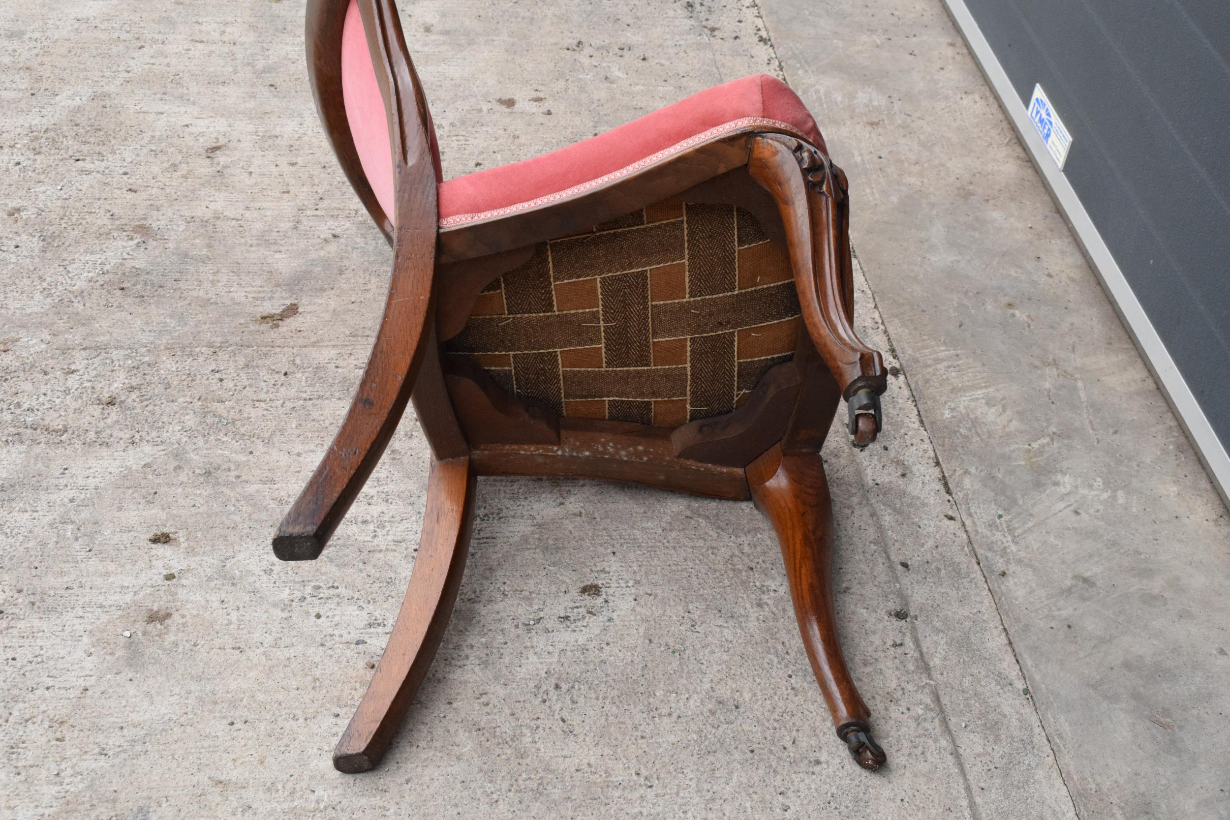Edwardian upholstered parlour chair with pink upholstery. 90cm tall. - Image 6 of 6