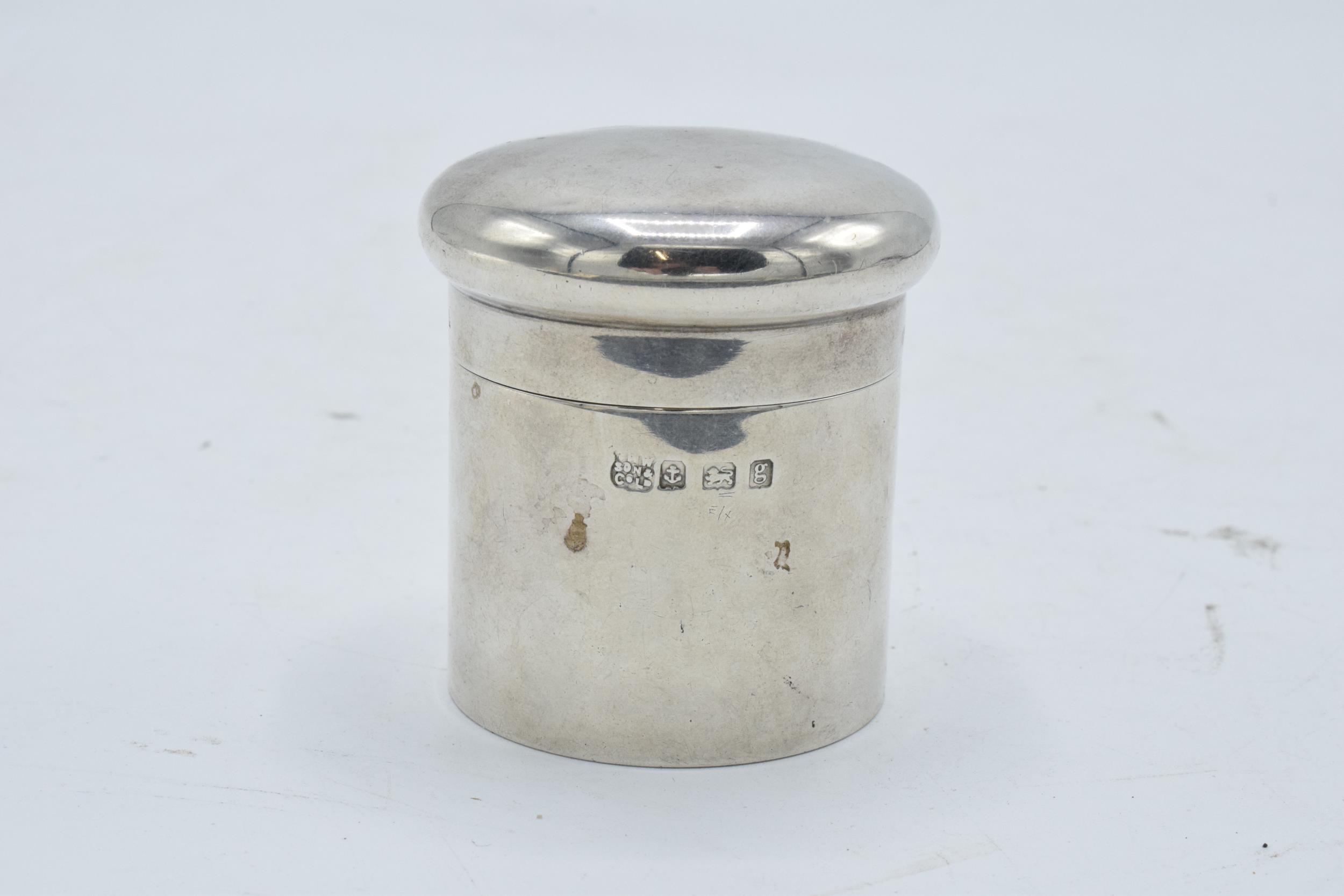 Silver cylindrical lidded pot/ box. Birmingham 1906. 45.4 grams. 5.5cm tall.