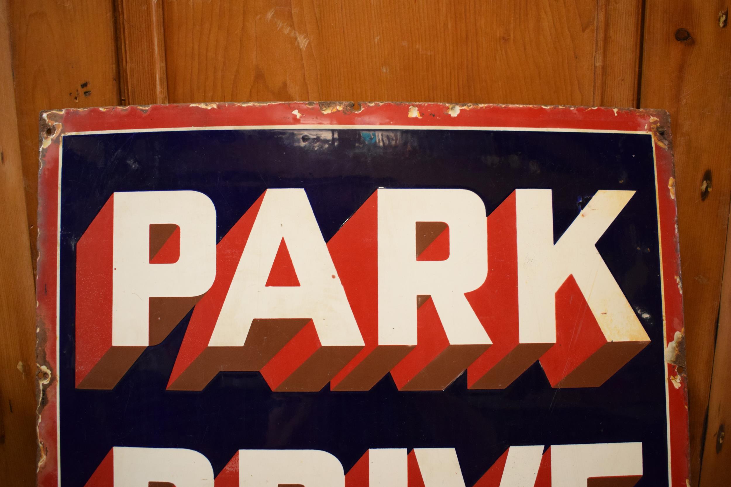 An original vintage enamel sign 'Park Drive For Pleasure, 10 for 4D, Plain or Cork Tip, 5 for 2D'. - Image 5 of 6