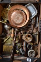 A mixed collection of metalware to include letter racks, ashtrays, ornamental items etc. NO POSTAGE.