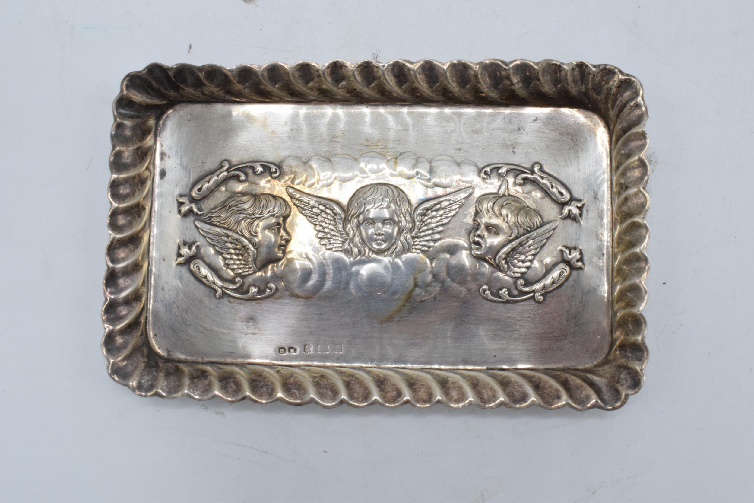 Silver Reynold's Angels rectangular tray. 57.1 grams. Birmingham 1904. Hallmarks slightly rubbed. - Image 2 of 4