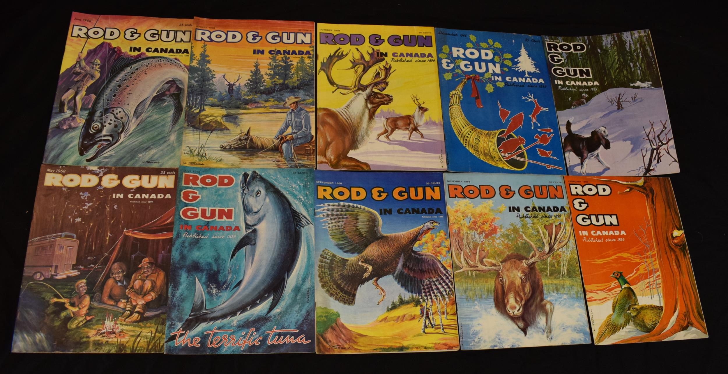 A collection of vintage 1960s 'Rod & Gun in Canada' magazines. Fishing and country sports