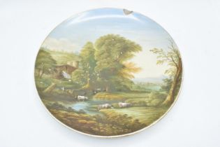 Victorian Staffordshire hand painted wall plaque, titled to reverse ? A pastoral Landscape?, and