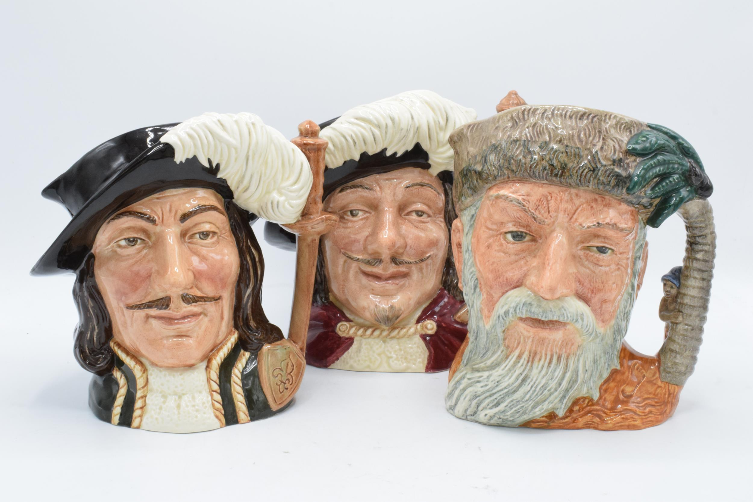 Large Royal Doulton character jugs to include Robinson Crusoe D6532, Porthos D6440 and Athos