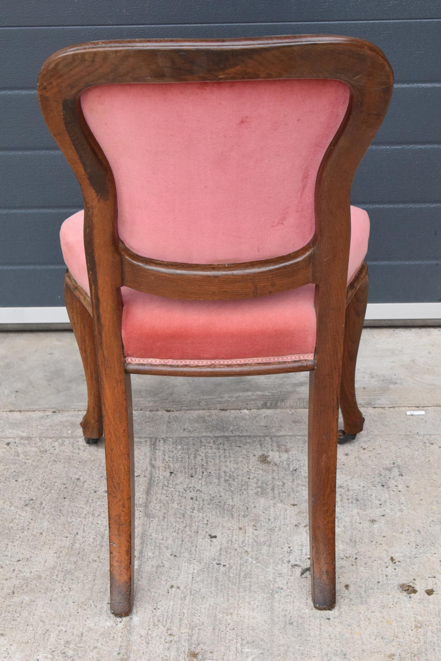 Edwardian upholstered parlour chair with pink upholstery. 90cm tall. - Image 5 of 6