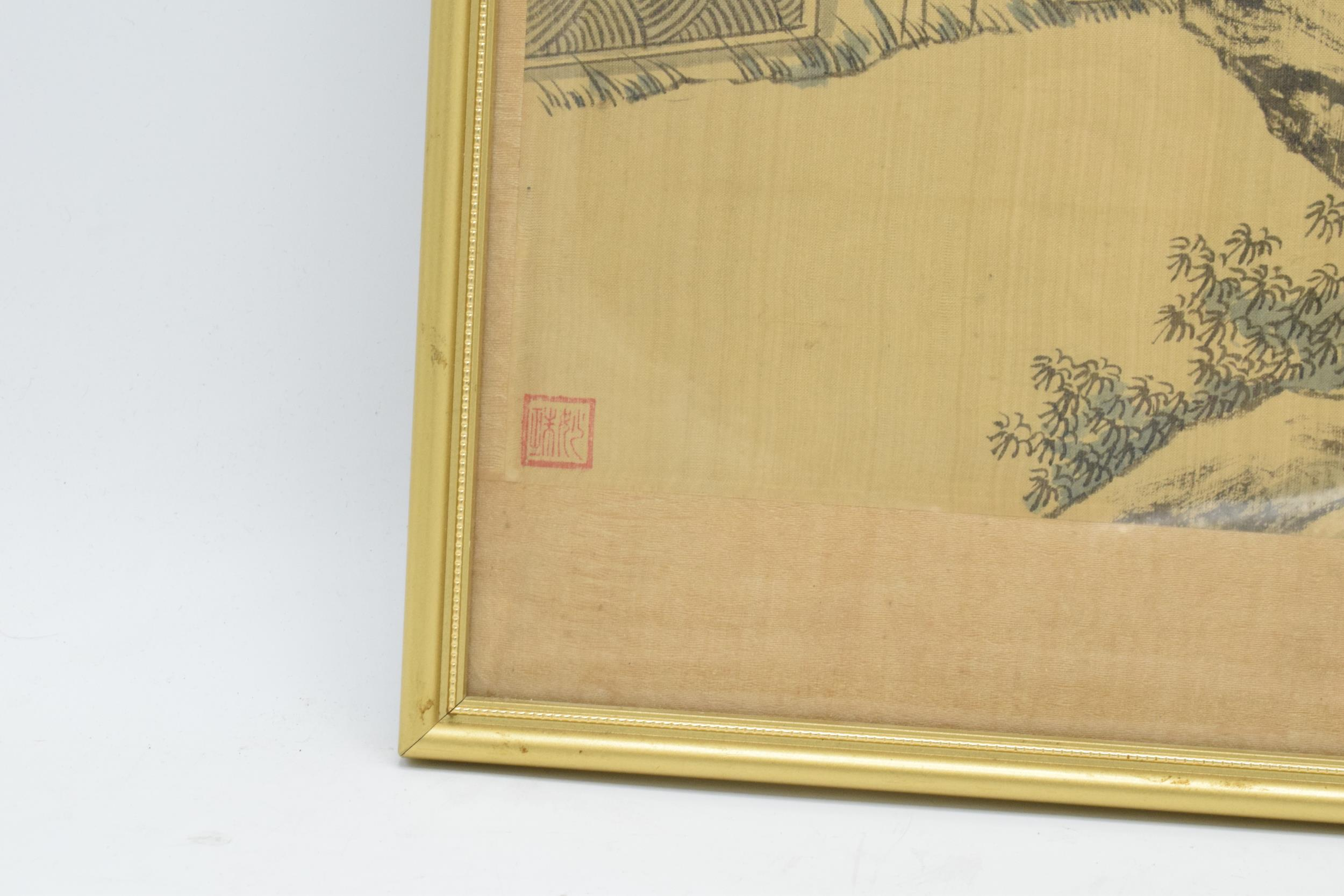 Meiji Japanese woodblock print depicting snowy mountain scene with man and young girl in front of - Image 5 of 6