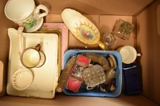 A mixed collection of items to include vintage advertising tins made by George Horner etc, Aynsley