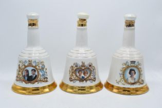 A collection of Wade Bells Whisky Decanters sealed with contents to include 60th Birthday of HM