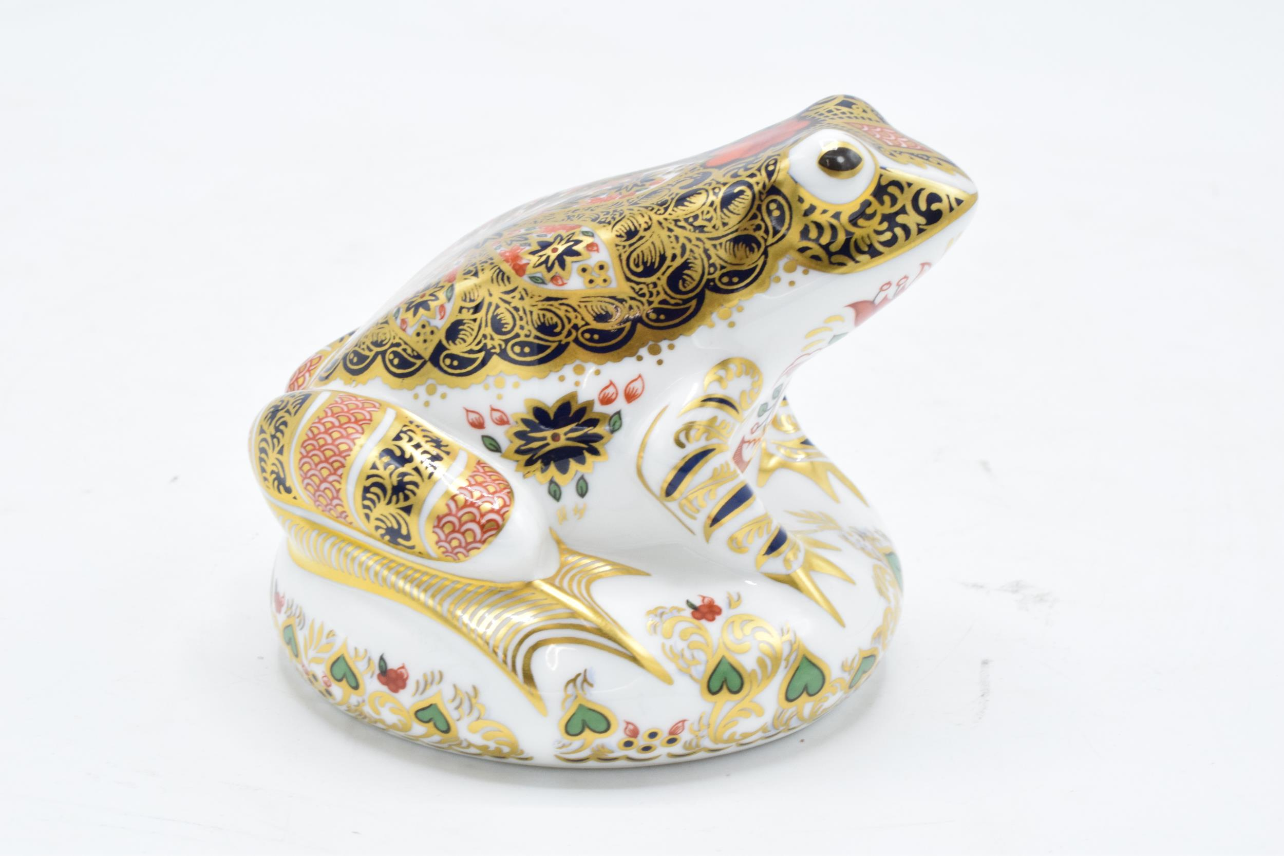 Boxed Royal Crown Derby paperweight in the form of an Old Imari Frog. First quality with stopper and - Image 2 of 4