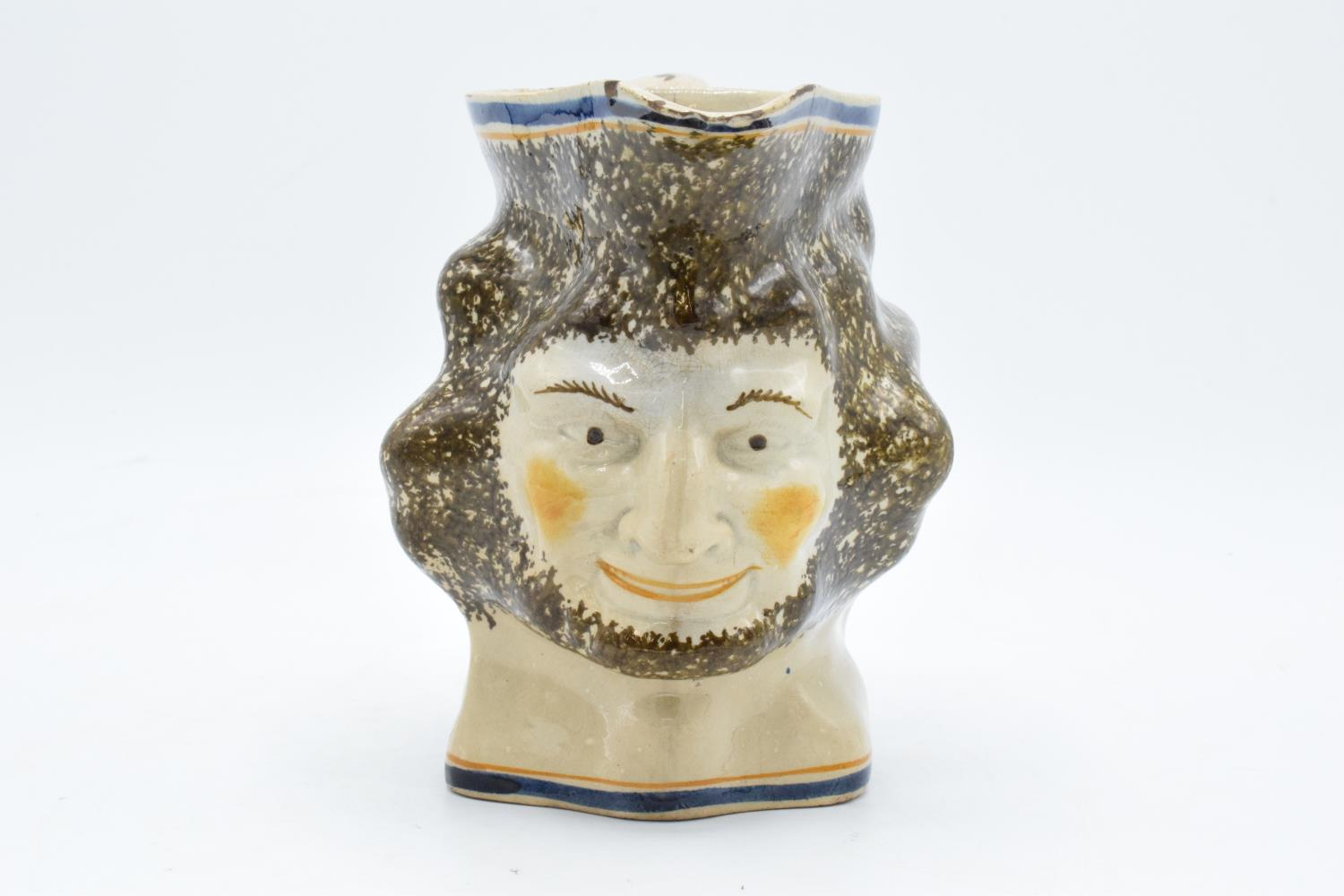 19th century Pratt Ware unusal face mask/ character jug. Generally in good condition for it's age