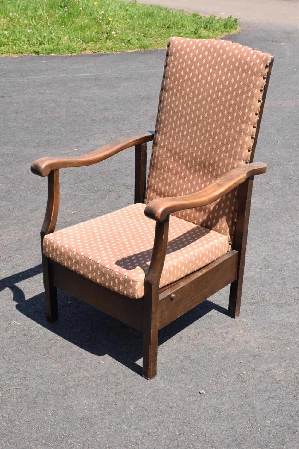 An early to mid 20th century adjustable/ sliding chair. 99cm tall.
