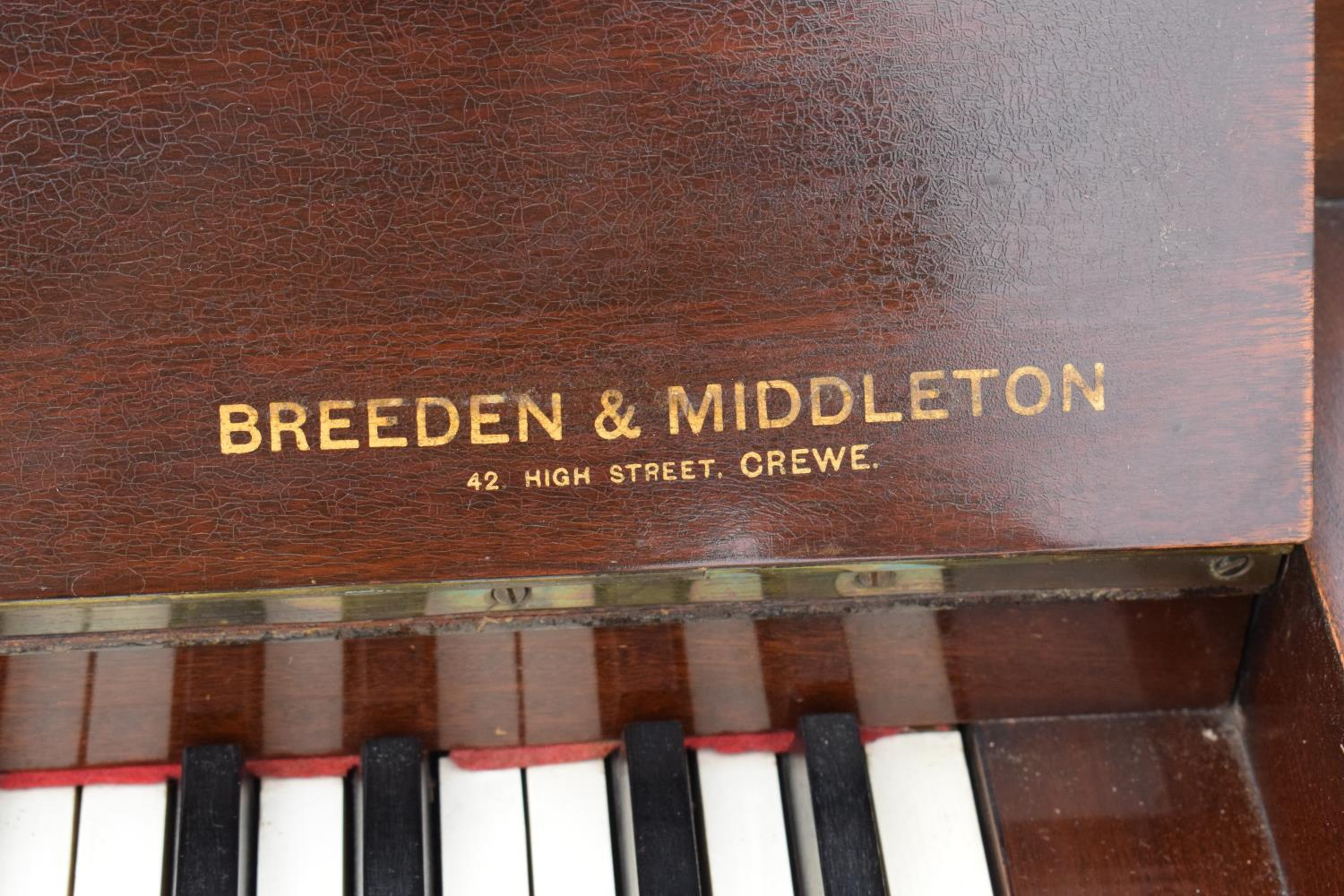 A Breedon and Middleton 'Mydleton' of 42 High Street Crewe upright wooden piano with 85 keys - Image 3 of 11