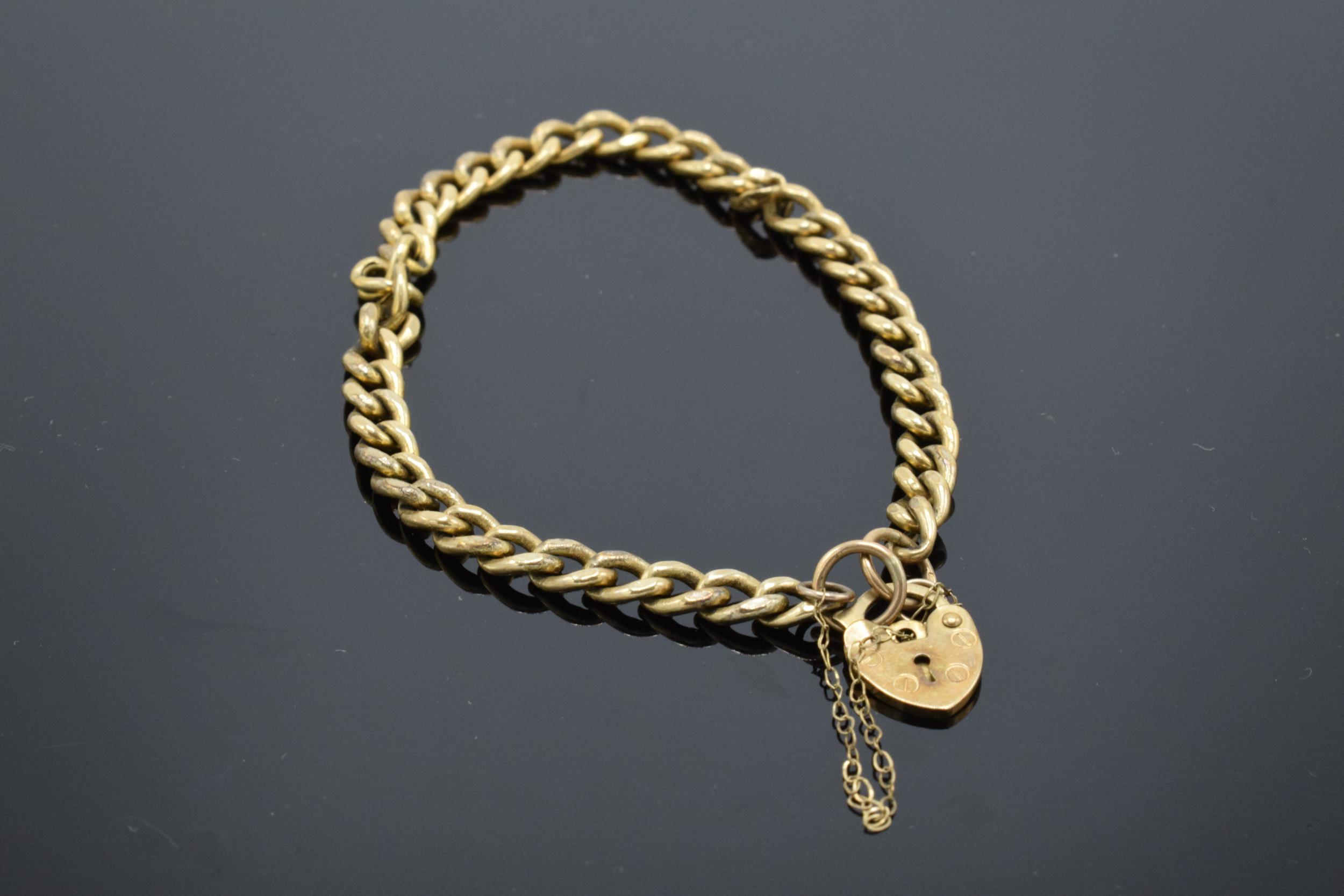 9ct gold hollow link bracelet with some damage 4.7g
