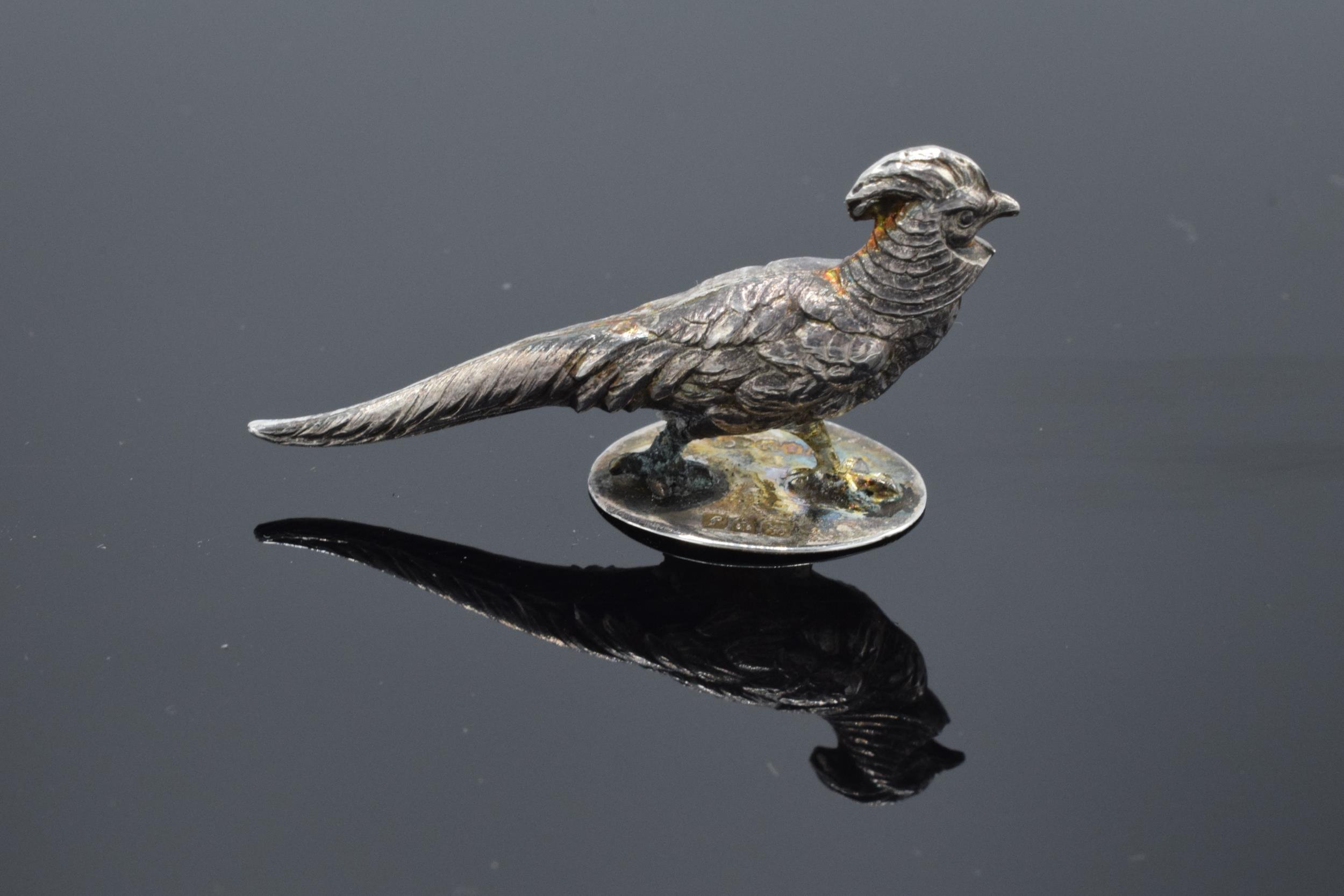 Sampson Mordan & Co Edwardian silver miniature pheasant, hallmarked Chester 1909. Approx 42mm in - Image 2 of 5