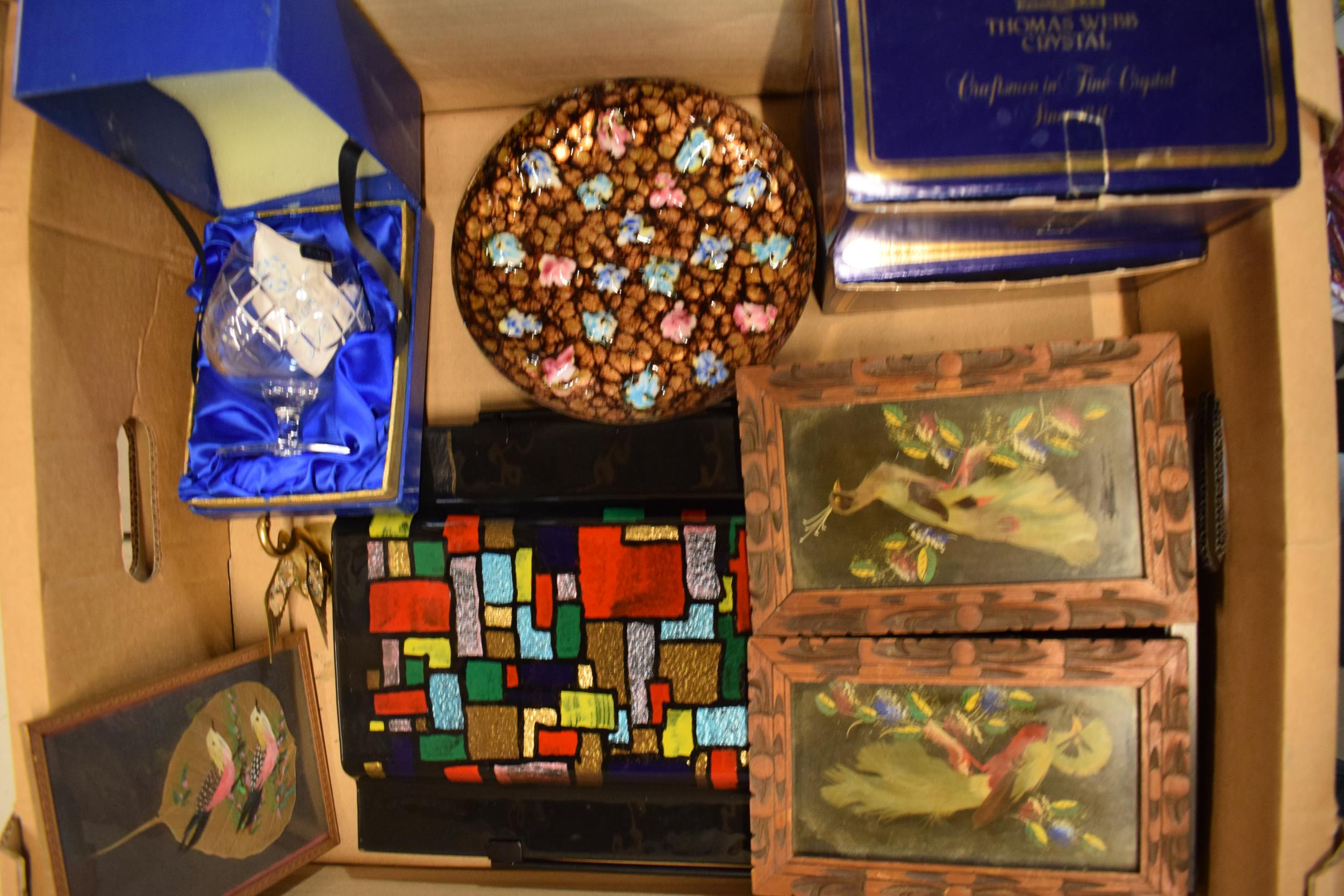A mixed collection of items to include Hummel tapestries, Thomas Webb Crystal, a copper flower - Image 2 of 3