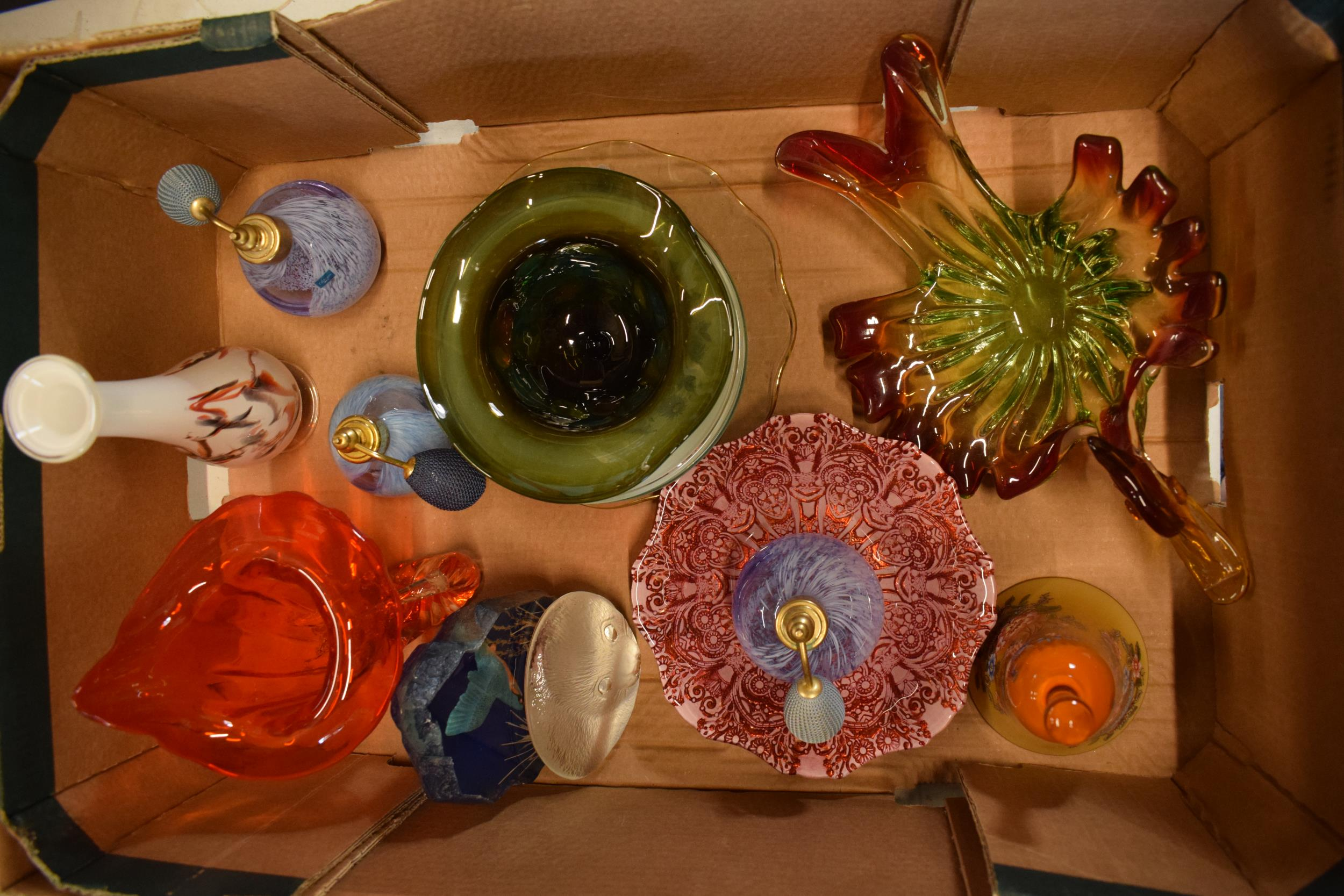 A collection of assorted art / studio glass in the form of vases, Murano style dish, Jack in the