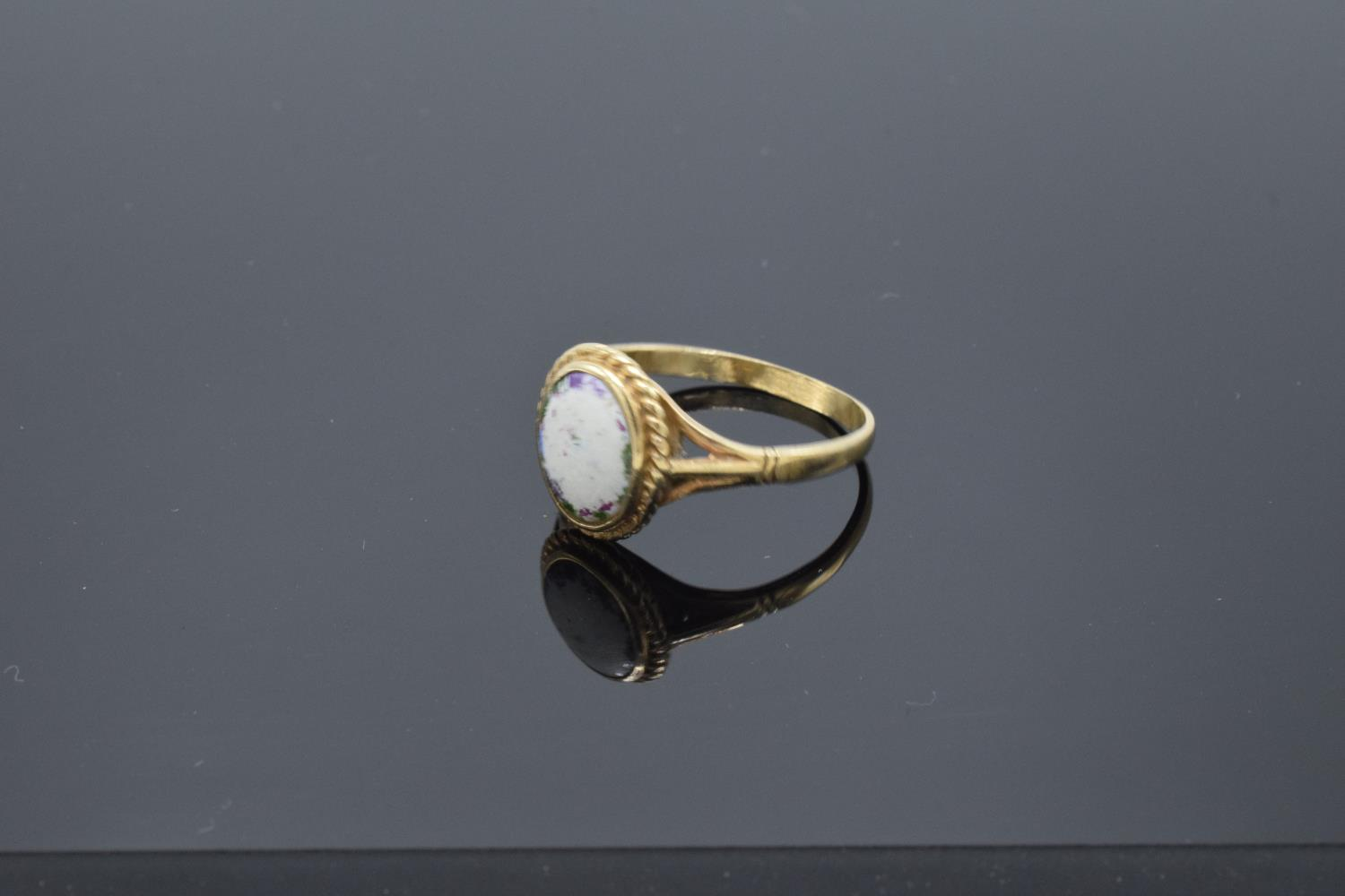 9ct gold ring set with a oval stone. 2.5 grams gross weight. UK size S. Full hallmarks. - Image 2 of 3