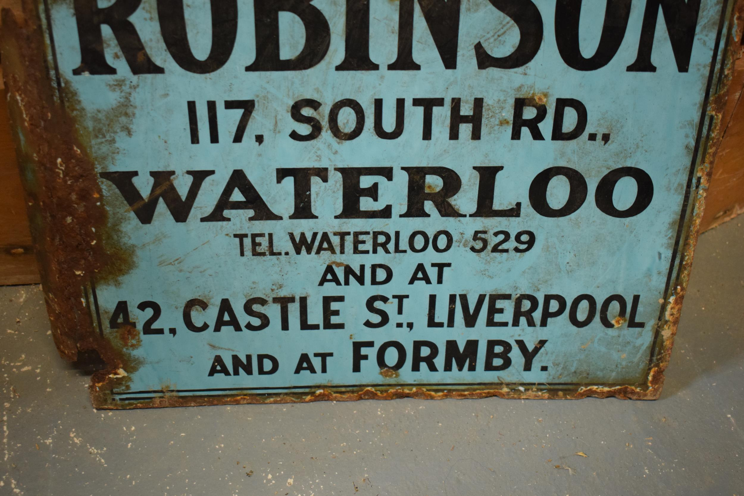 An original vintage double-sided enamel advertising sign for an H H and J Robinson estate agents. ' - Image 9 of 9