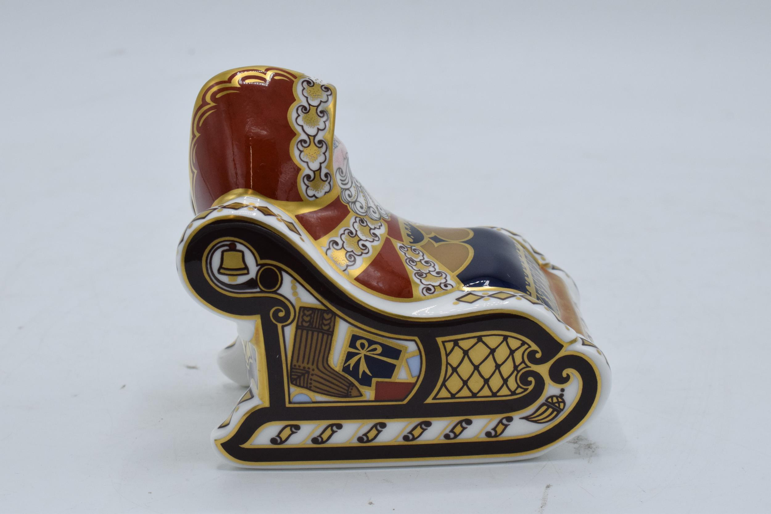 Boxed Royal Crown Derby paperweight in the form of a Santa and his Sleigh. First quality with - Image 4 of 5