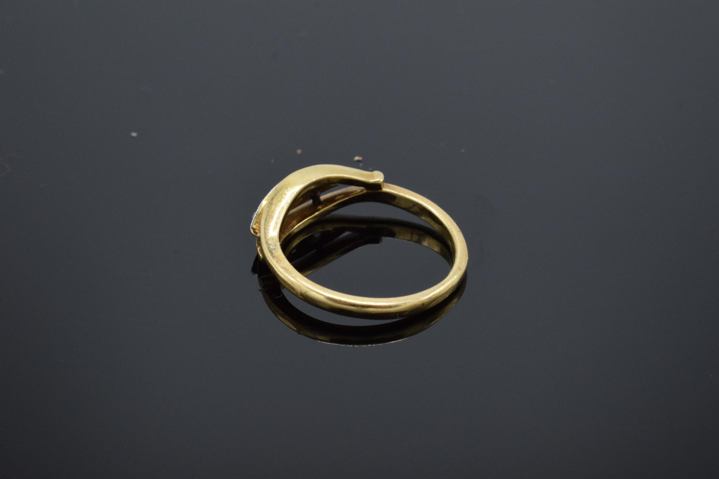 18ct gold ring set with 5 diamonds. UK size K/L. 2.7 grams. In good condition. - Image 2 of 3
